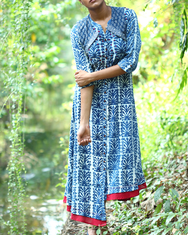 Indigo kurta with short cut away jacket