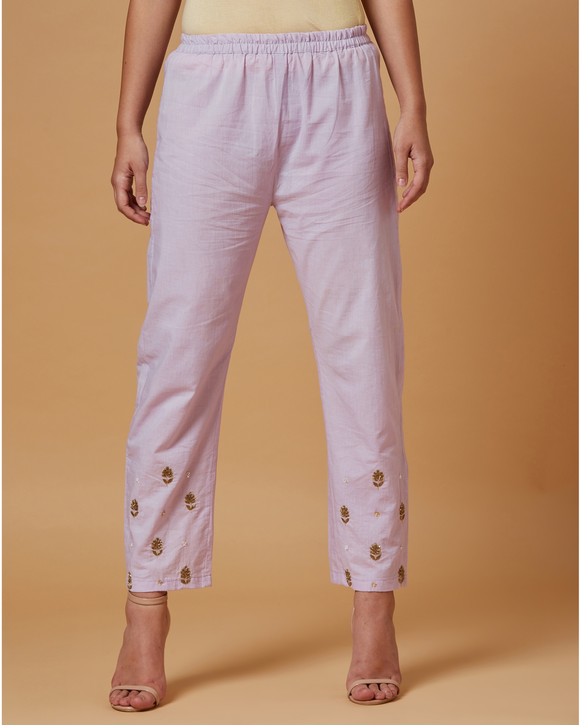 Lilac floral boota embroidered pants