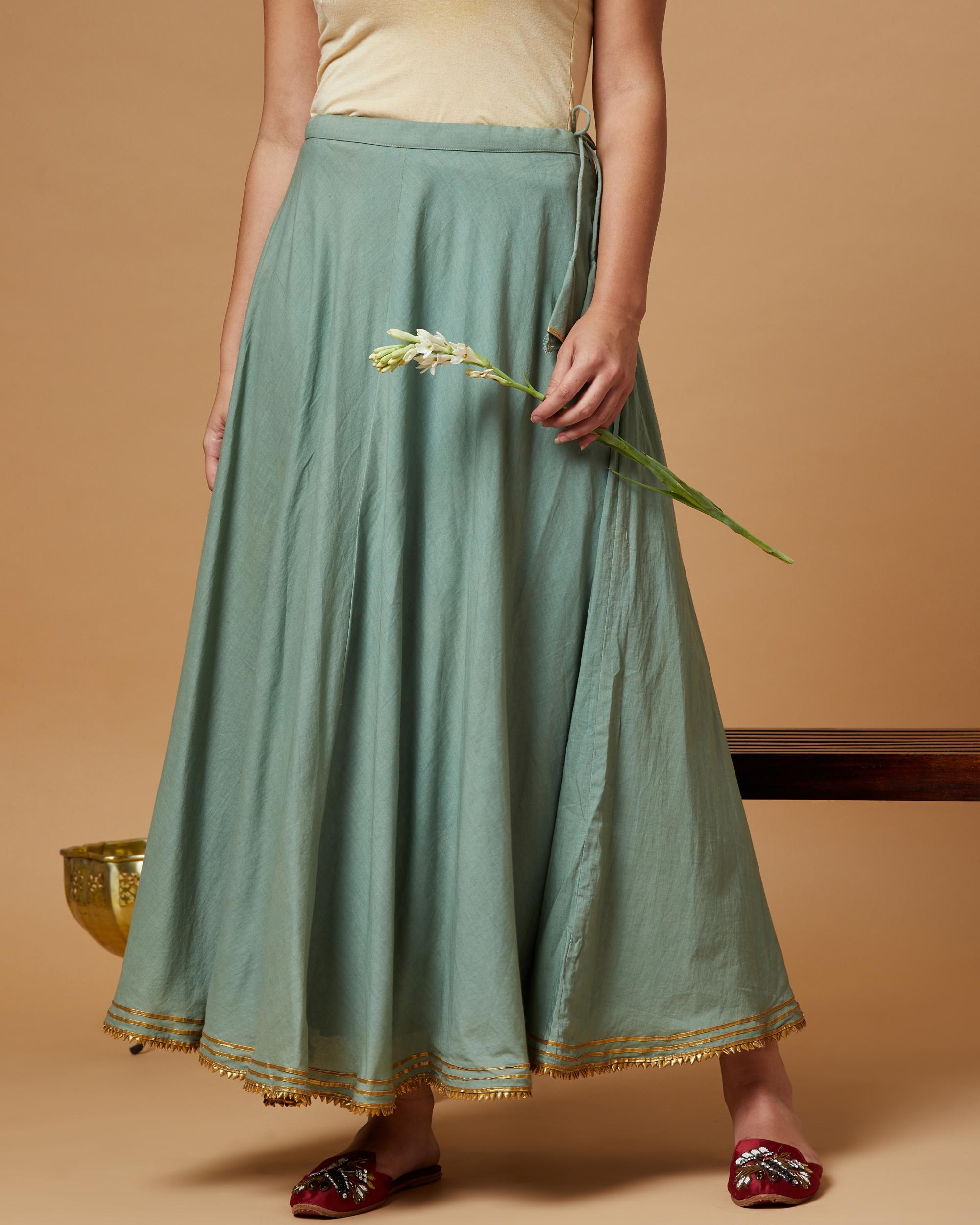 Jade green gota detailed skirt