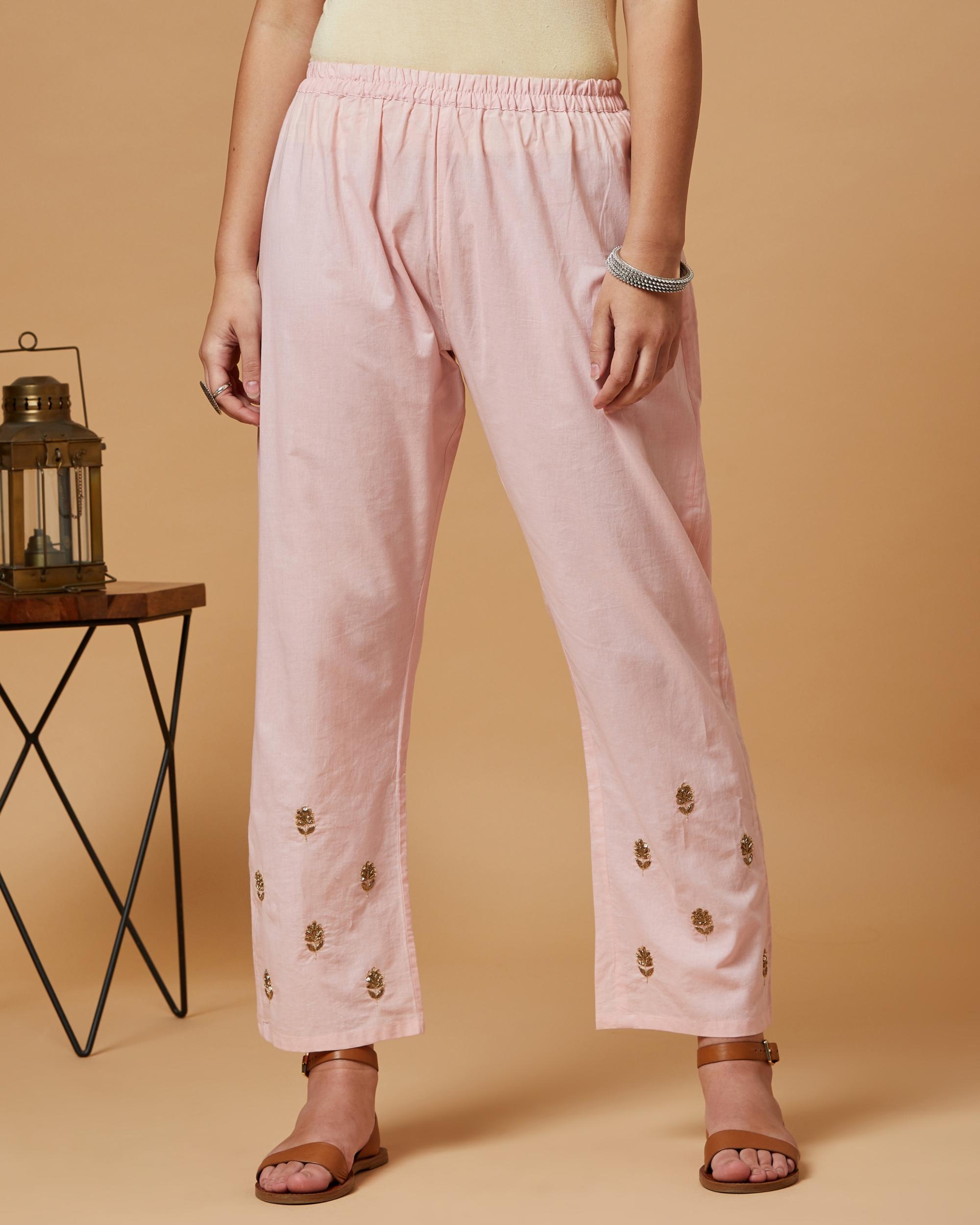 Pink floral boota pants