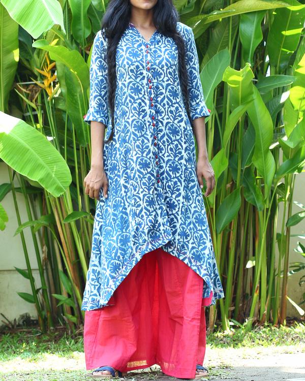 Indigo cotton tunic with fuschia palazzo pants
