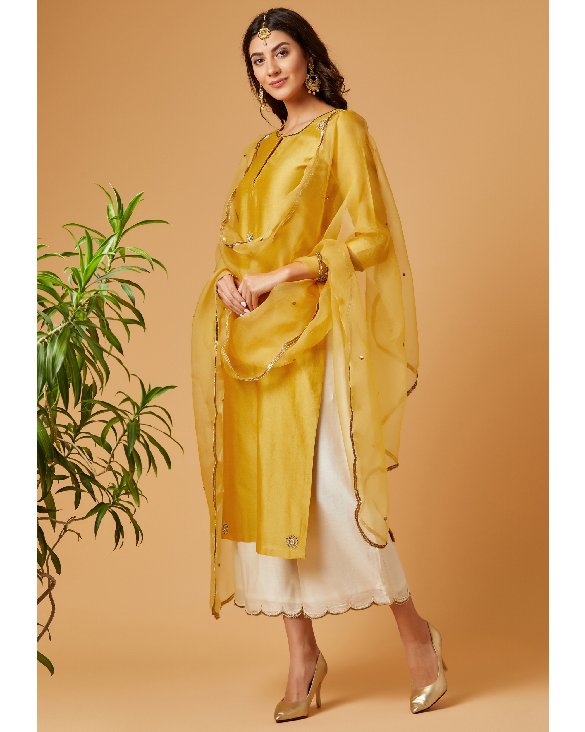 Yellow sequined organza dupatta
