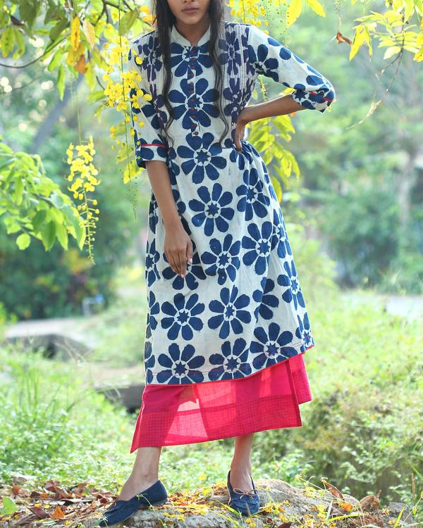 Floral printed indigo tunic