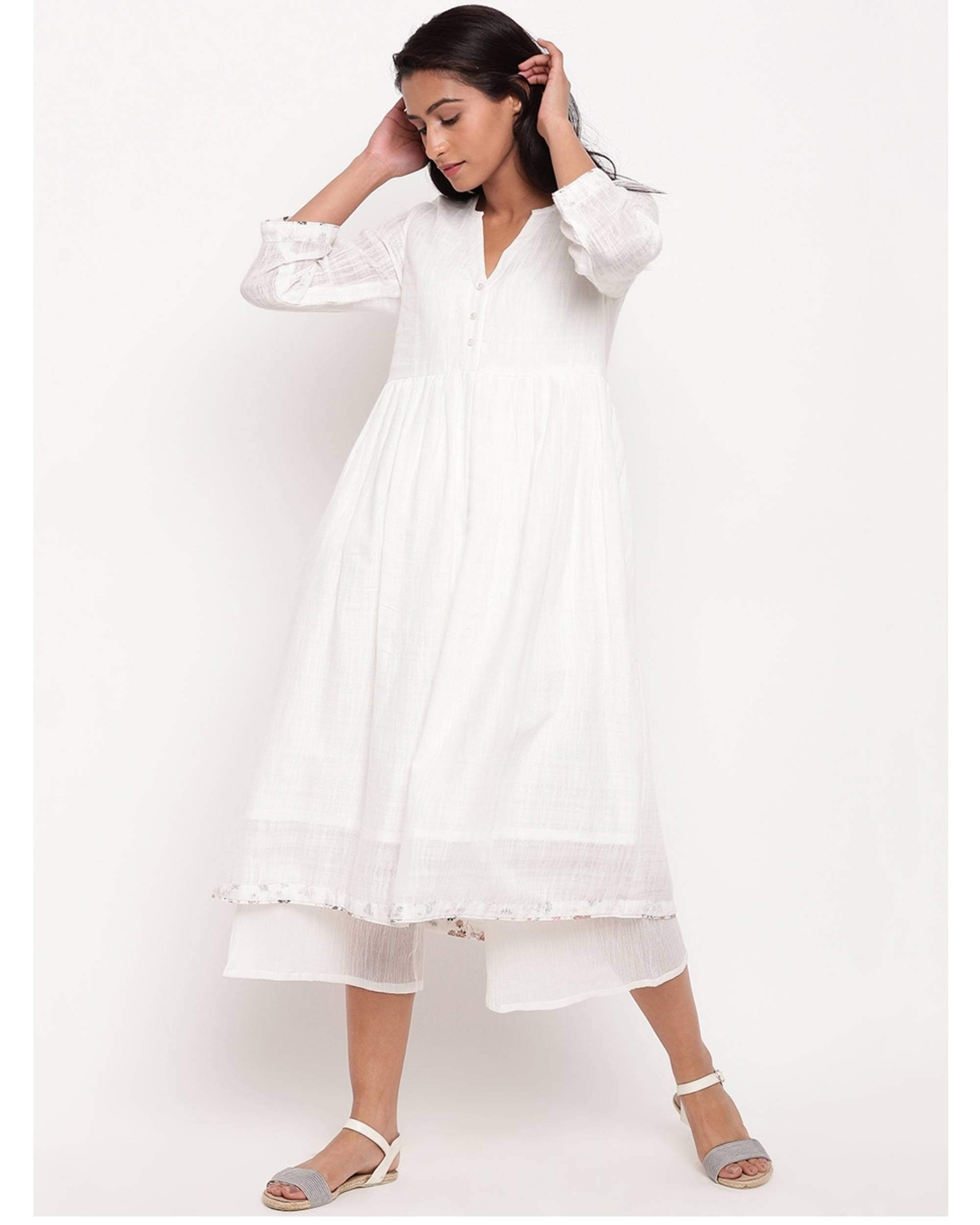 White floral buttoned kurta