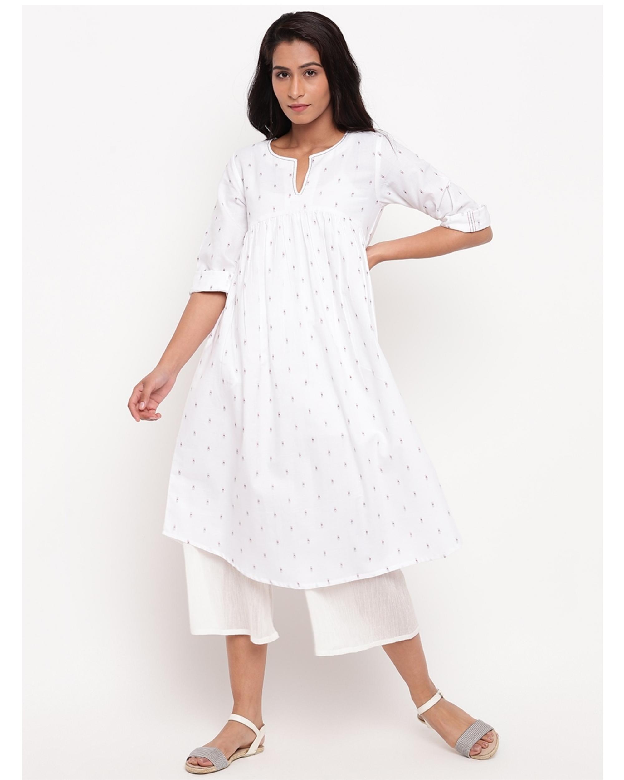 White printed cotton kurta