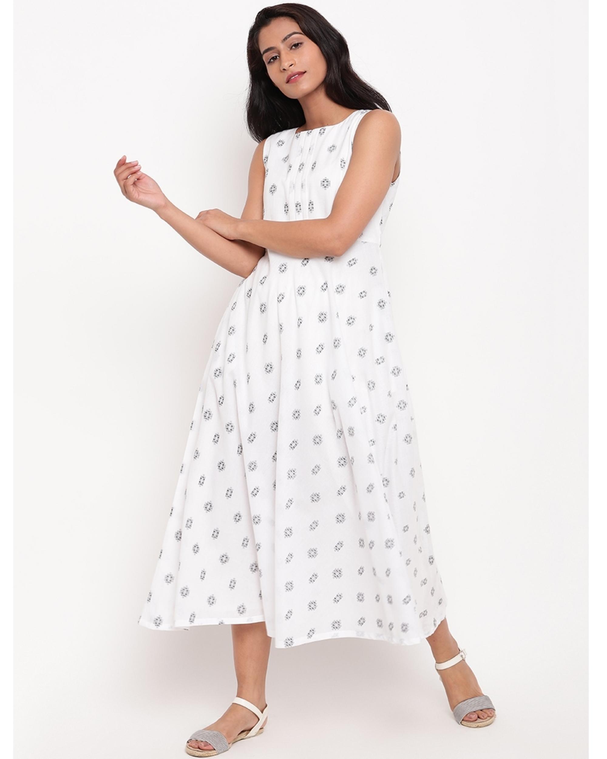 White and black printed dress