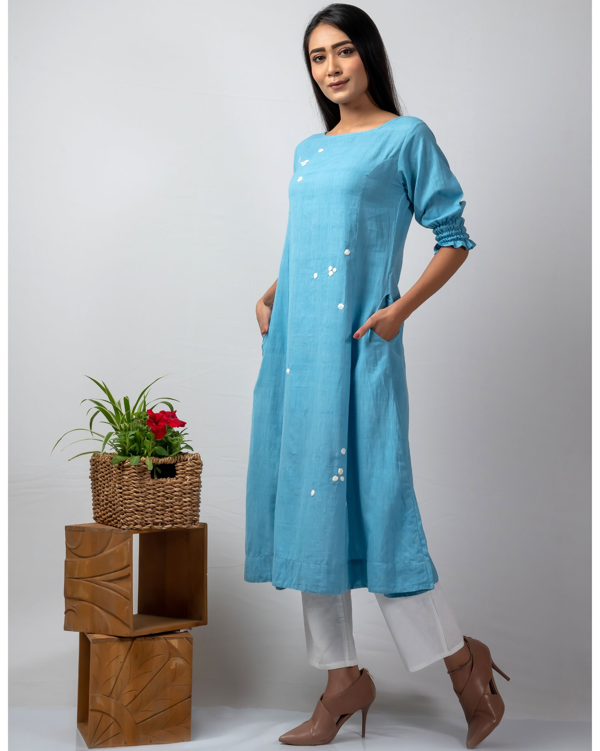 Blue polka applique kurta