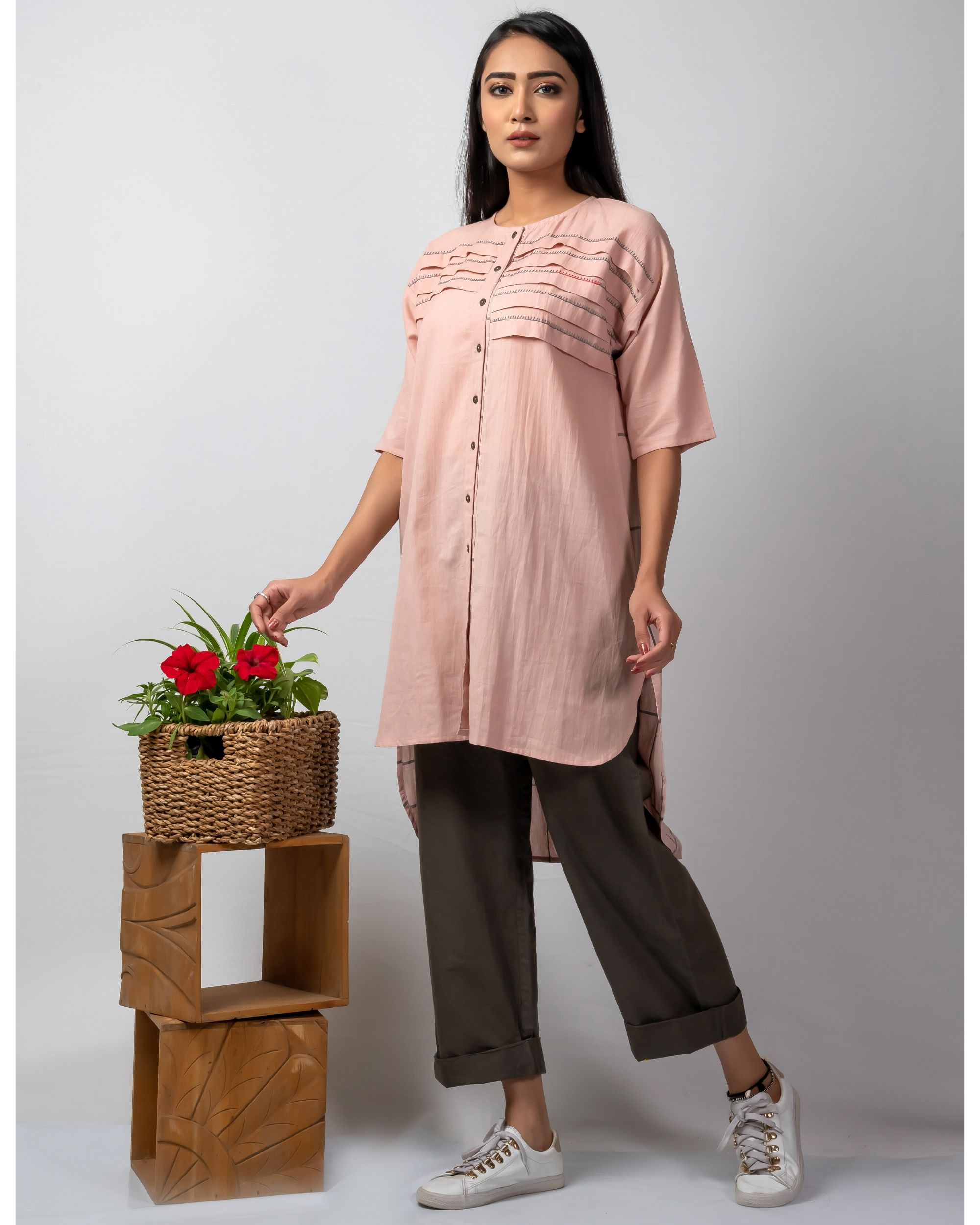 Pink and grey embroidered high low kurta