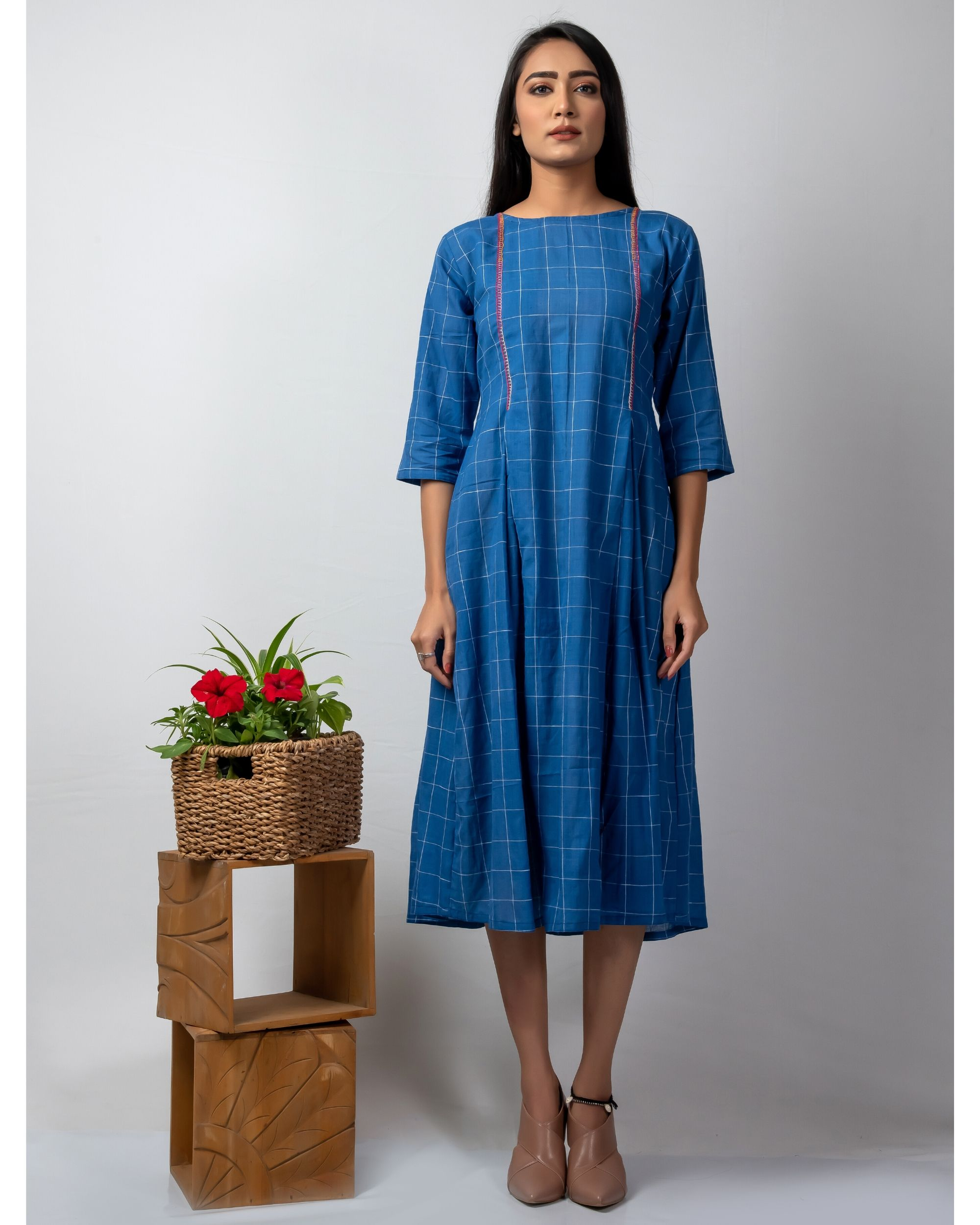 Blue checkered dress with embroidery