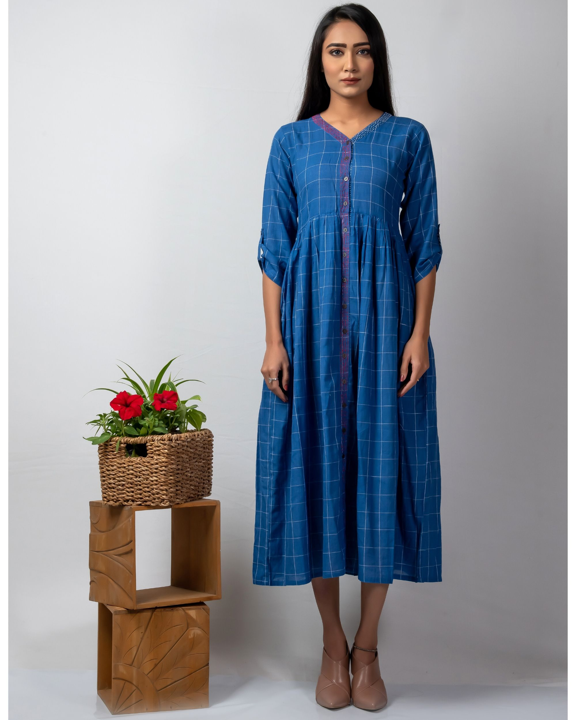 Blue checkered button down dress with katha embroidery