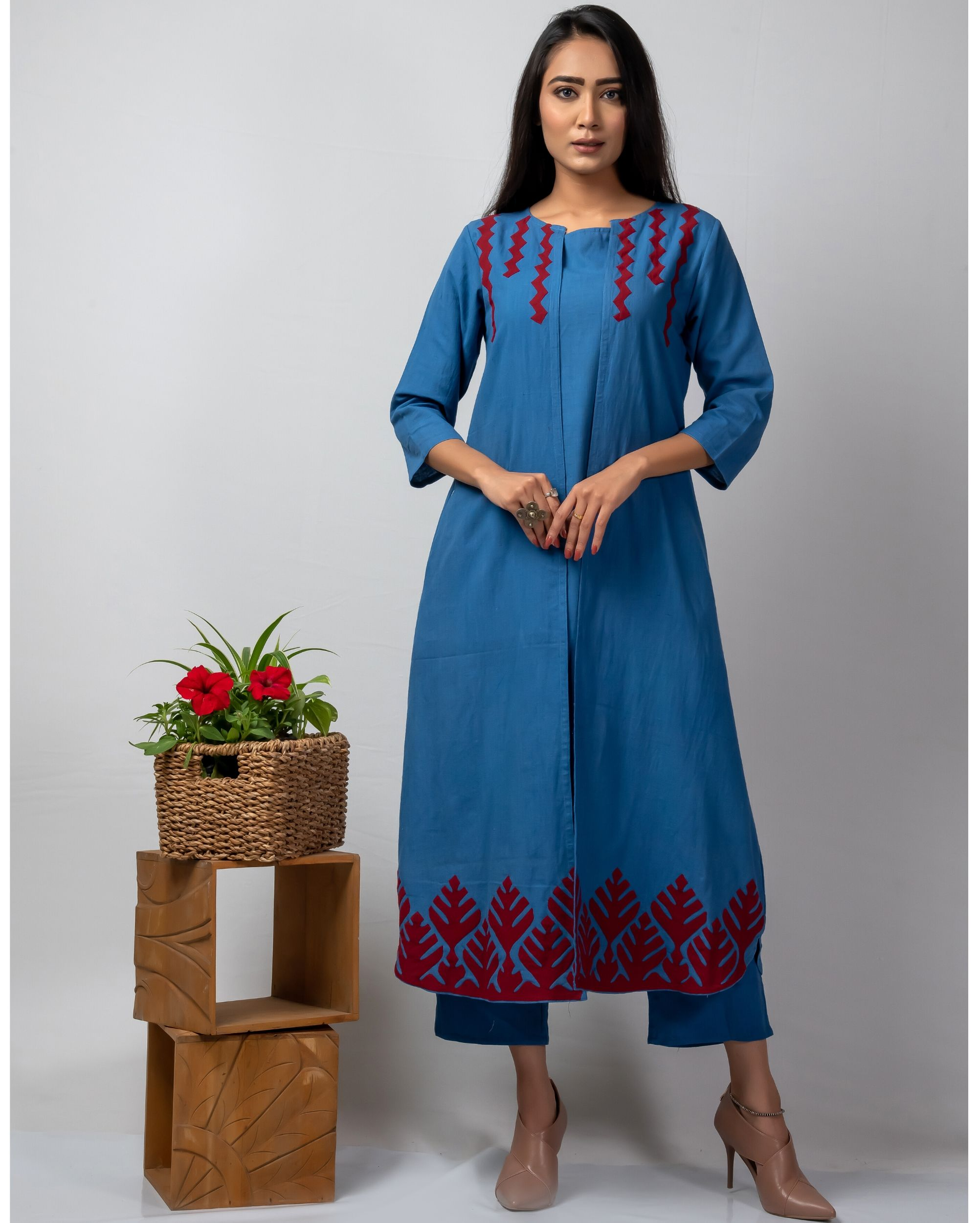 Blue applique front open jacket and kurta with pants set- Set Of Three