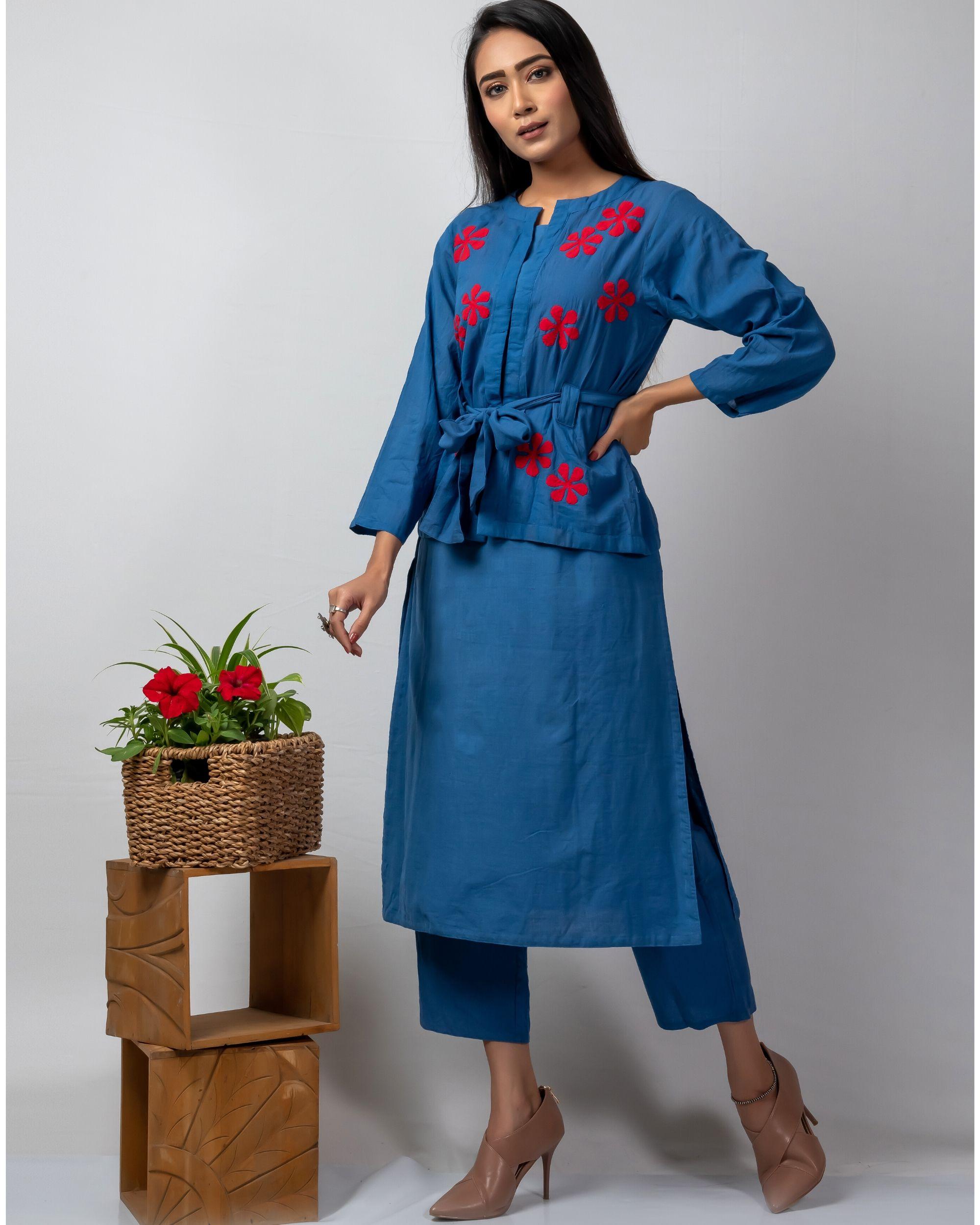 Blue applique belt jacket and kurta with blue pants set- Set Of Three