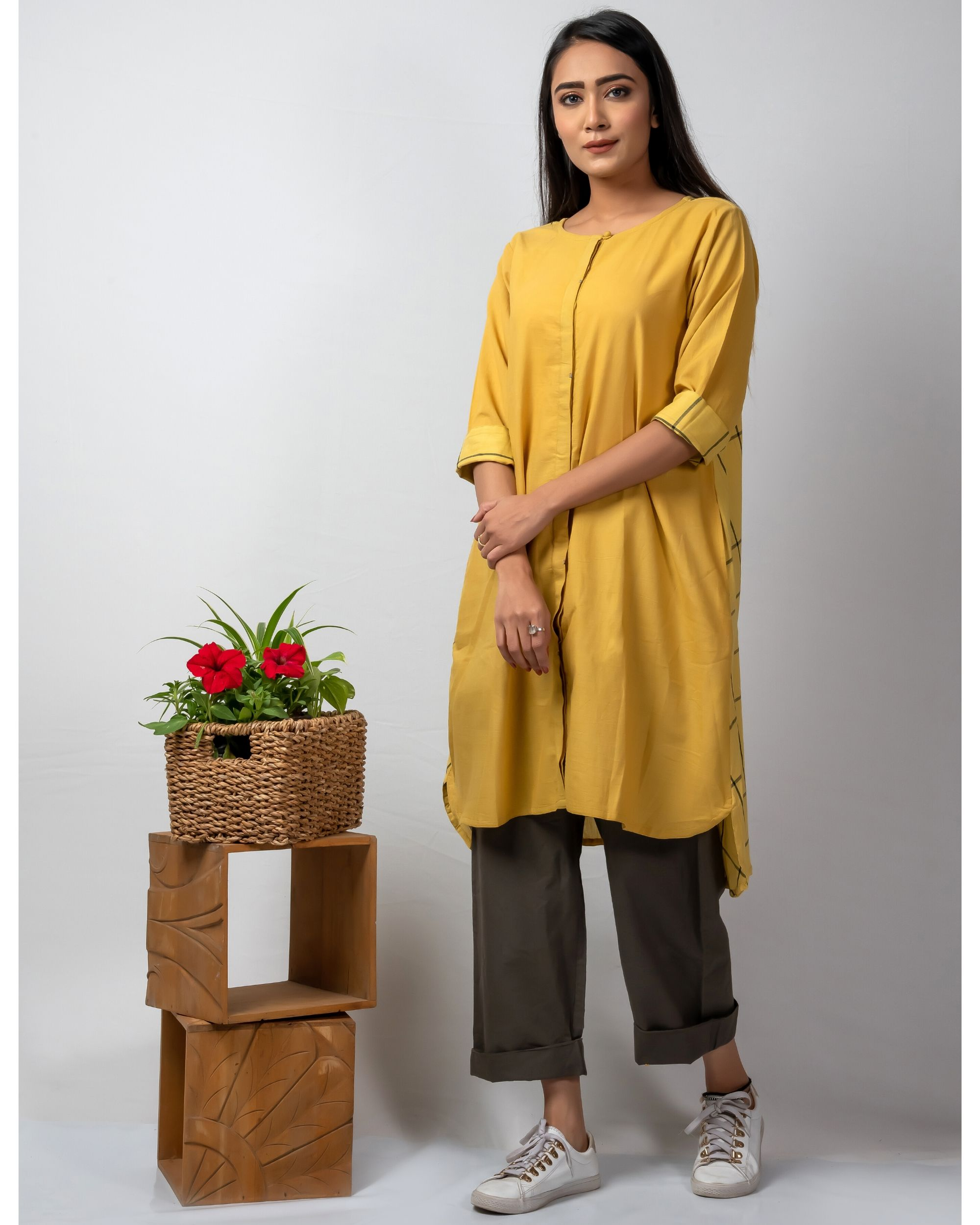 Mustard yellow boxy high low kurta