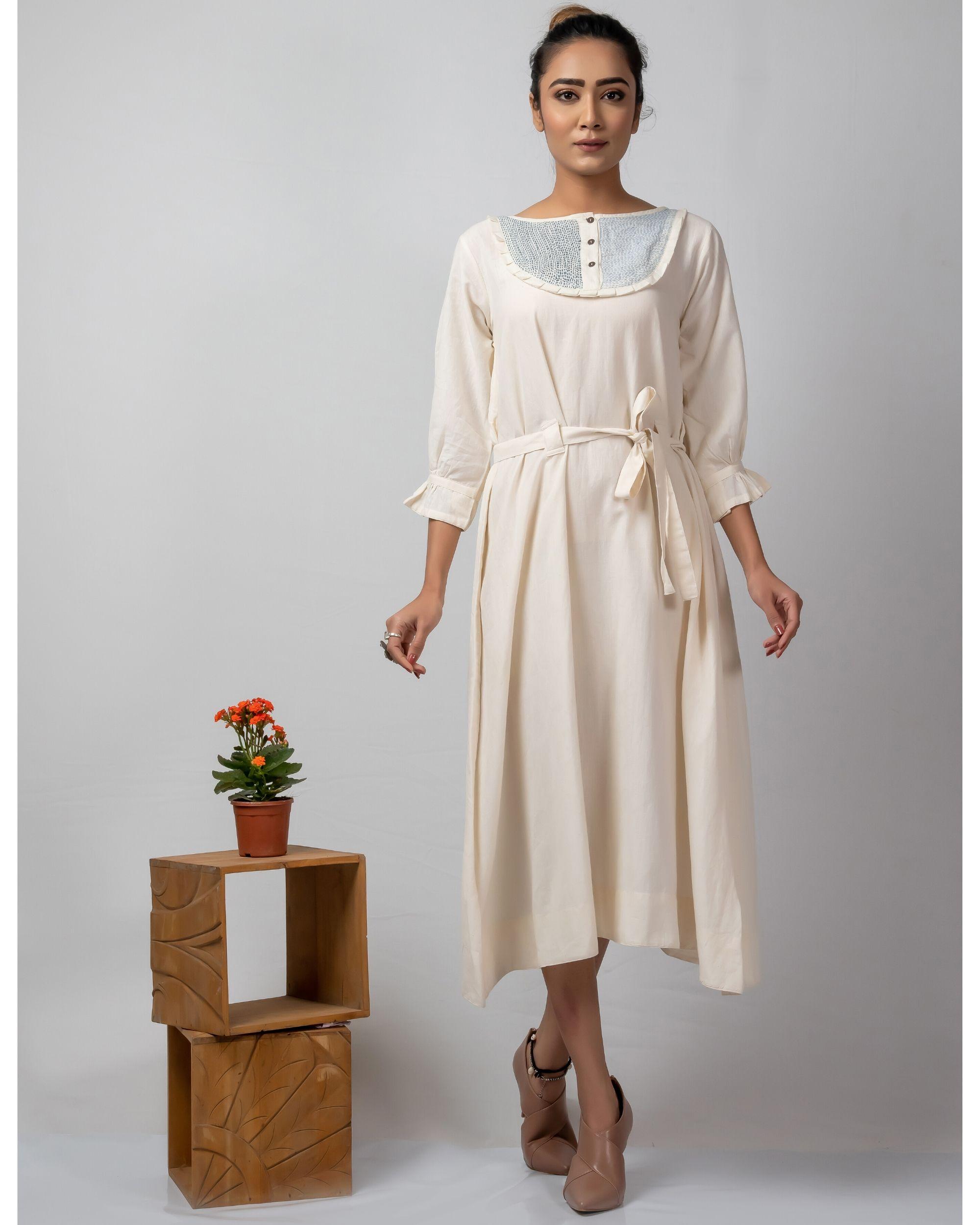 Off white kantha embroidered yoke dress