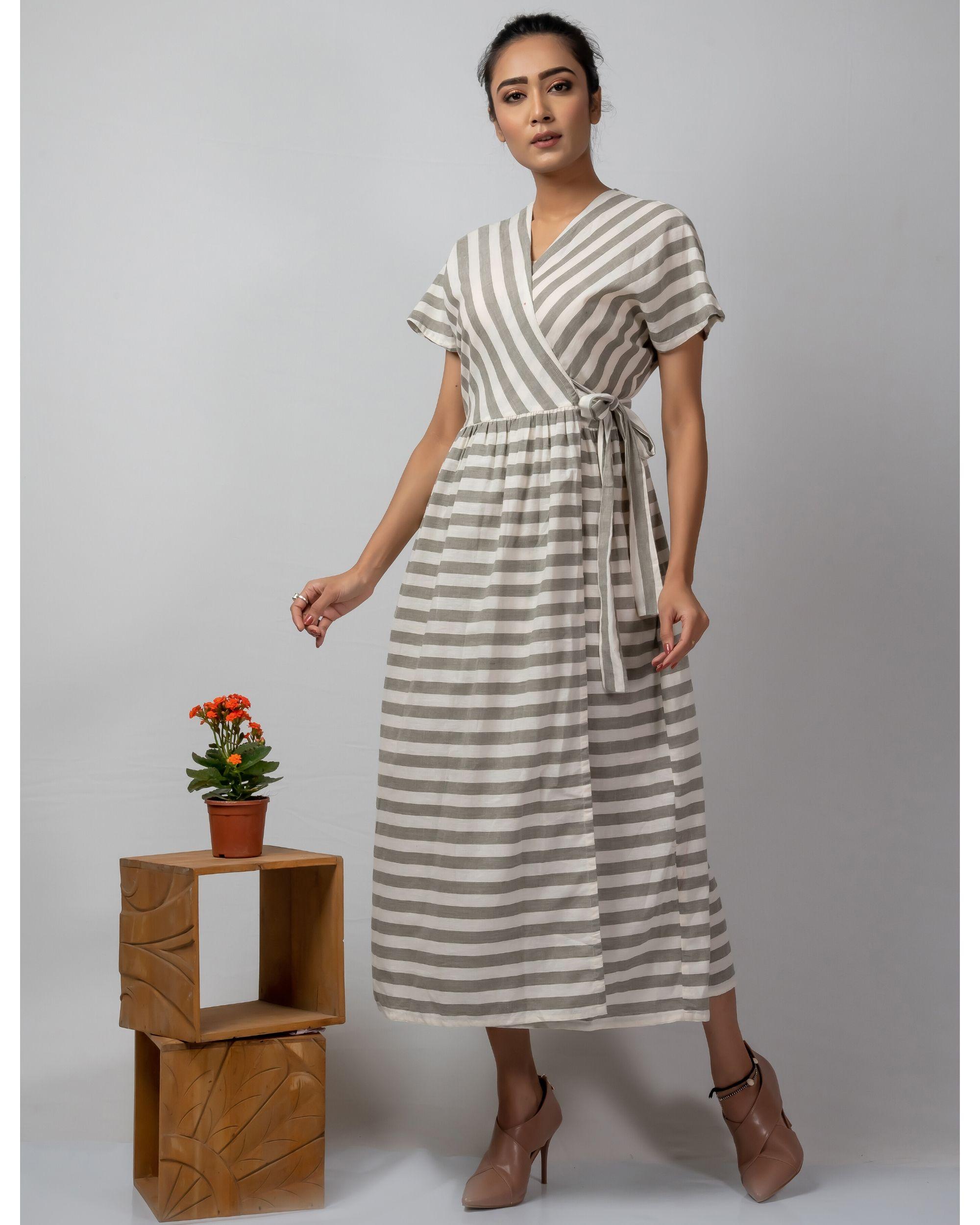 White and grey striped wrap around dress