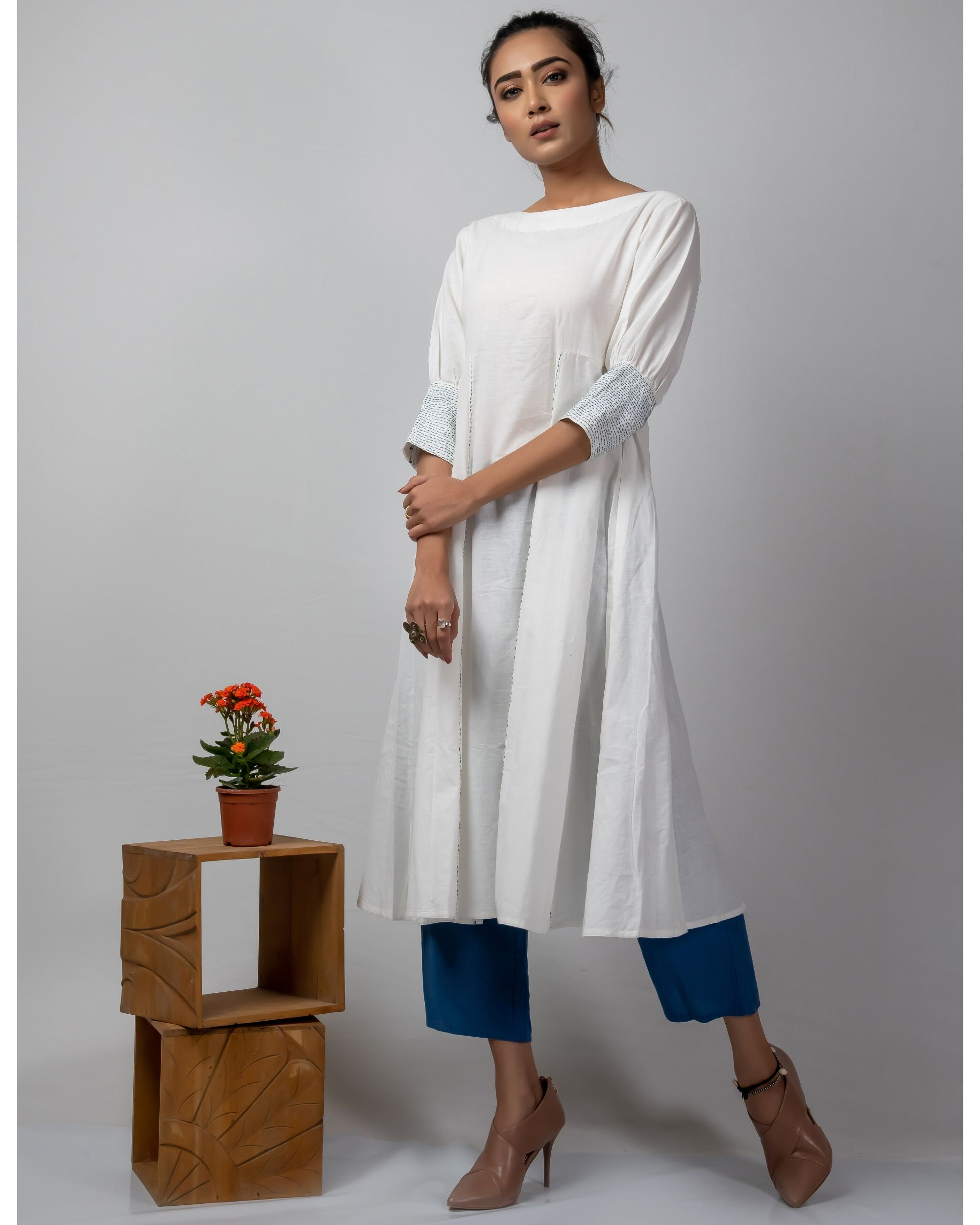 White and blue flared dress with kantha work