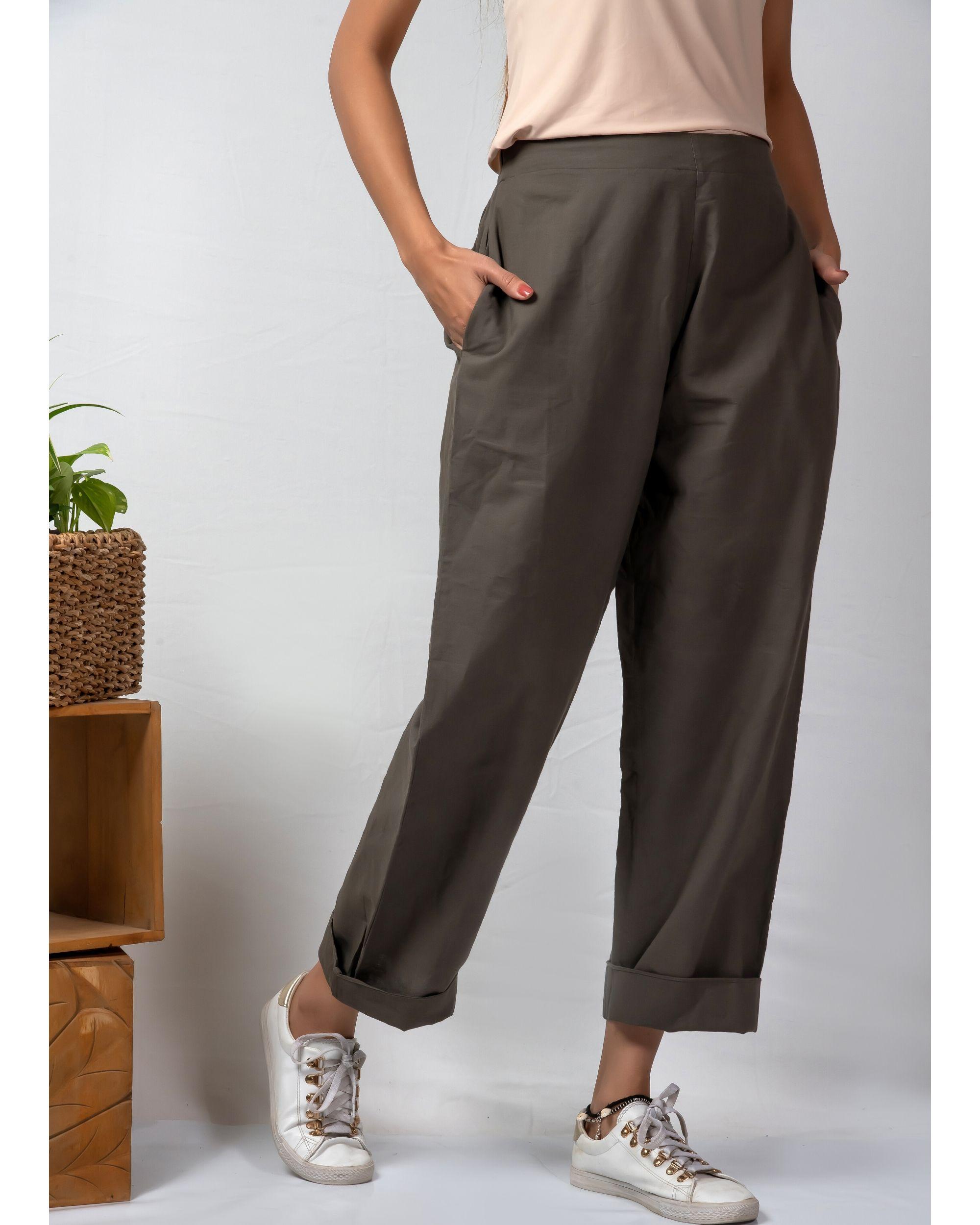 Grey rolled hem cotton pants