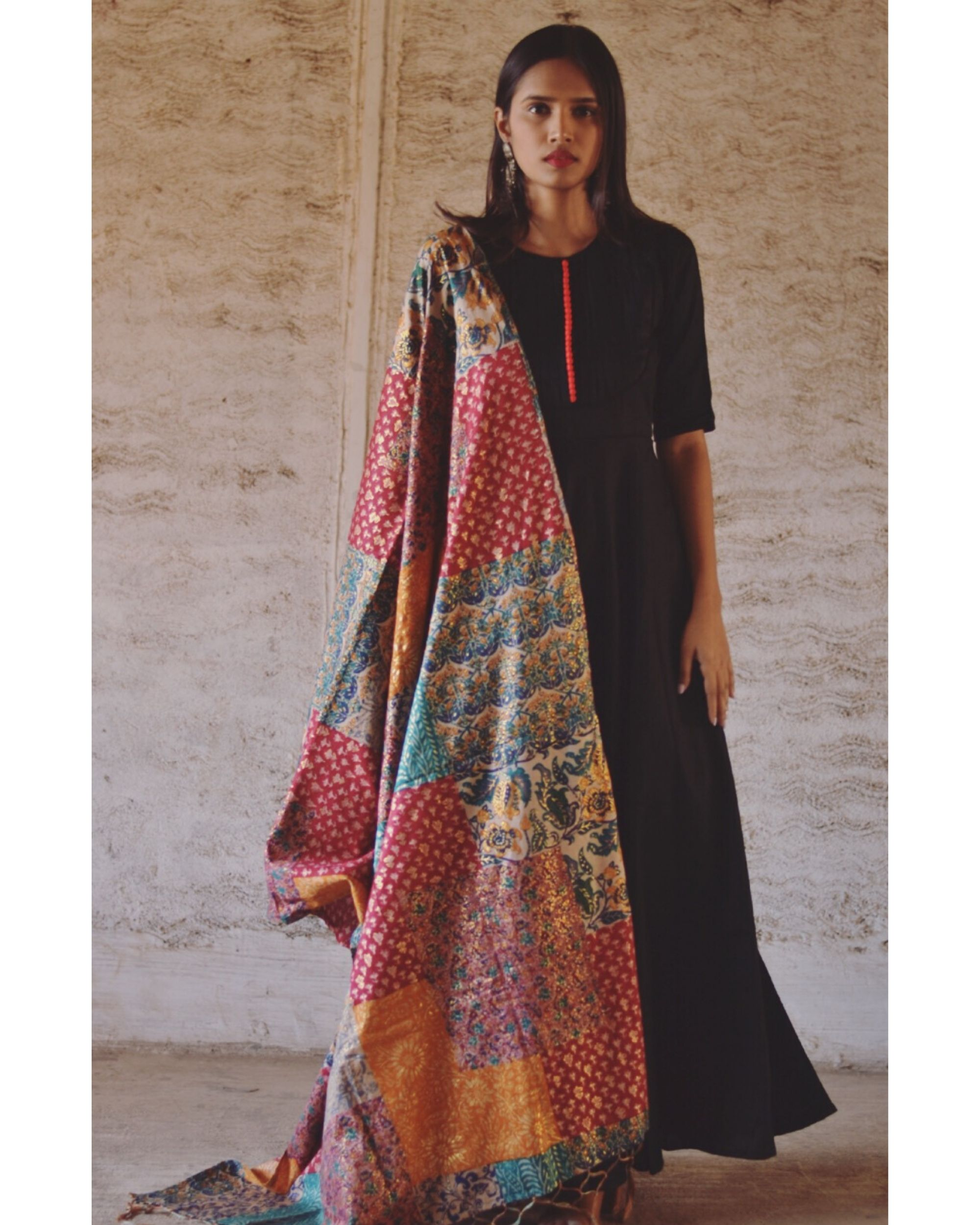 Black flared dress and dupatta set- Set Of Two