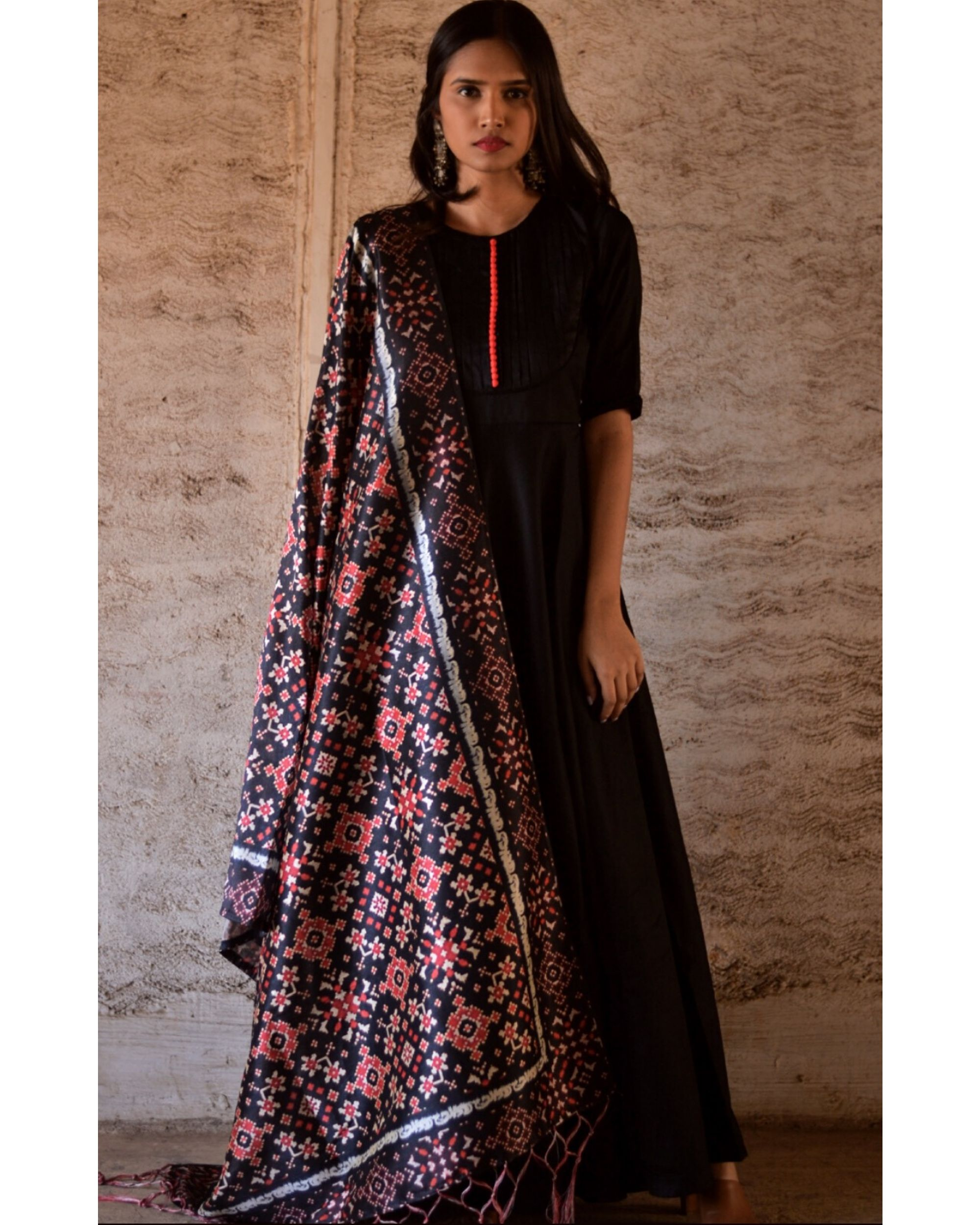 Black flared yoke dress and dupatta set- Set Of Two