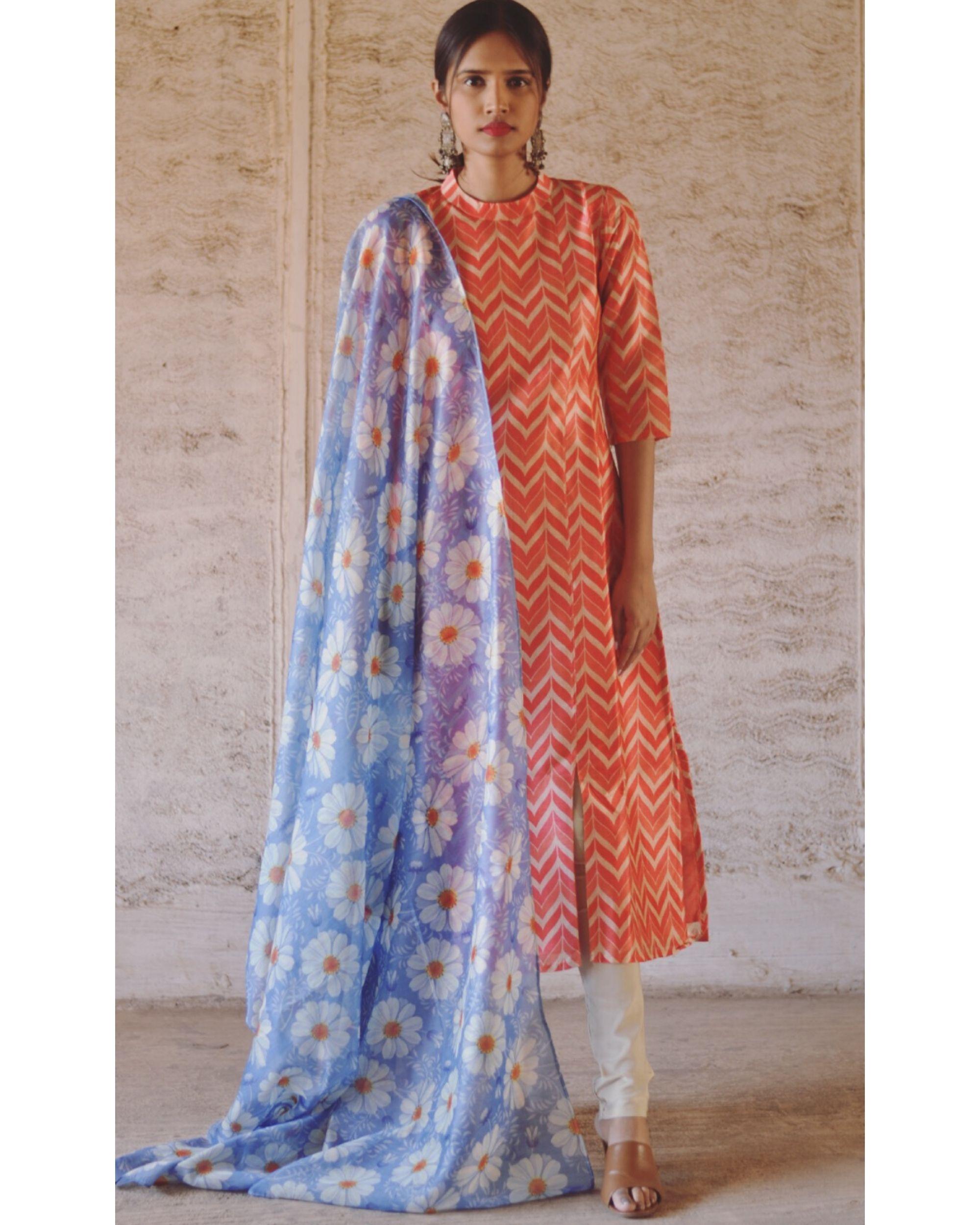 Orange and blue zig zag printed kurta and pants with dupatta set- Set Of Two