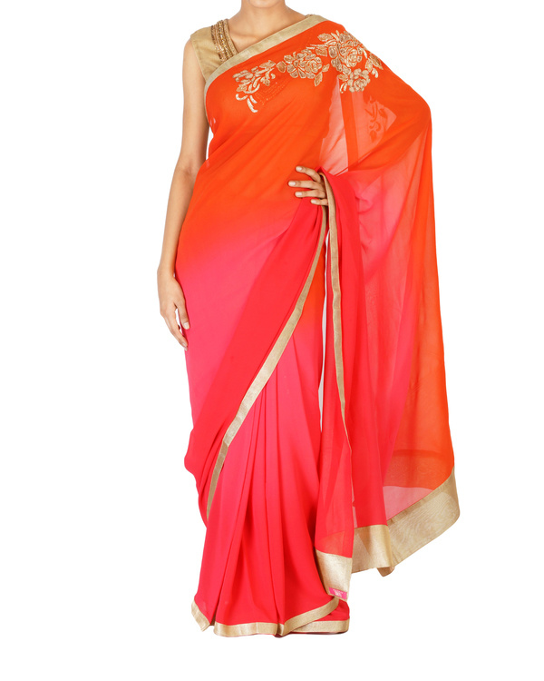 Ombre dyed orange and pink gold rose embroidered sari