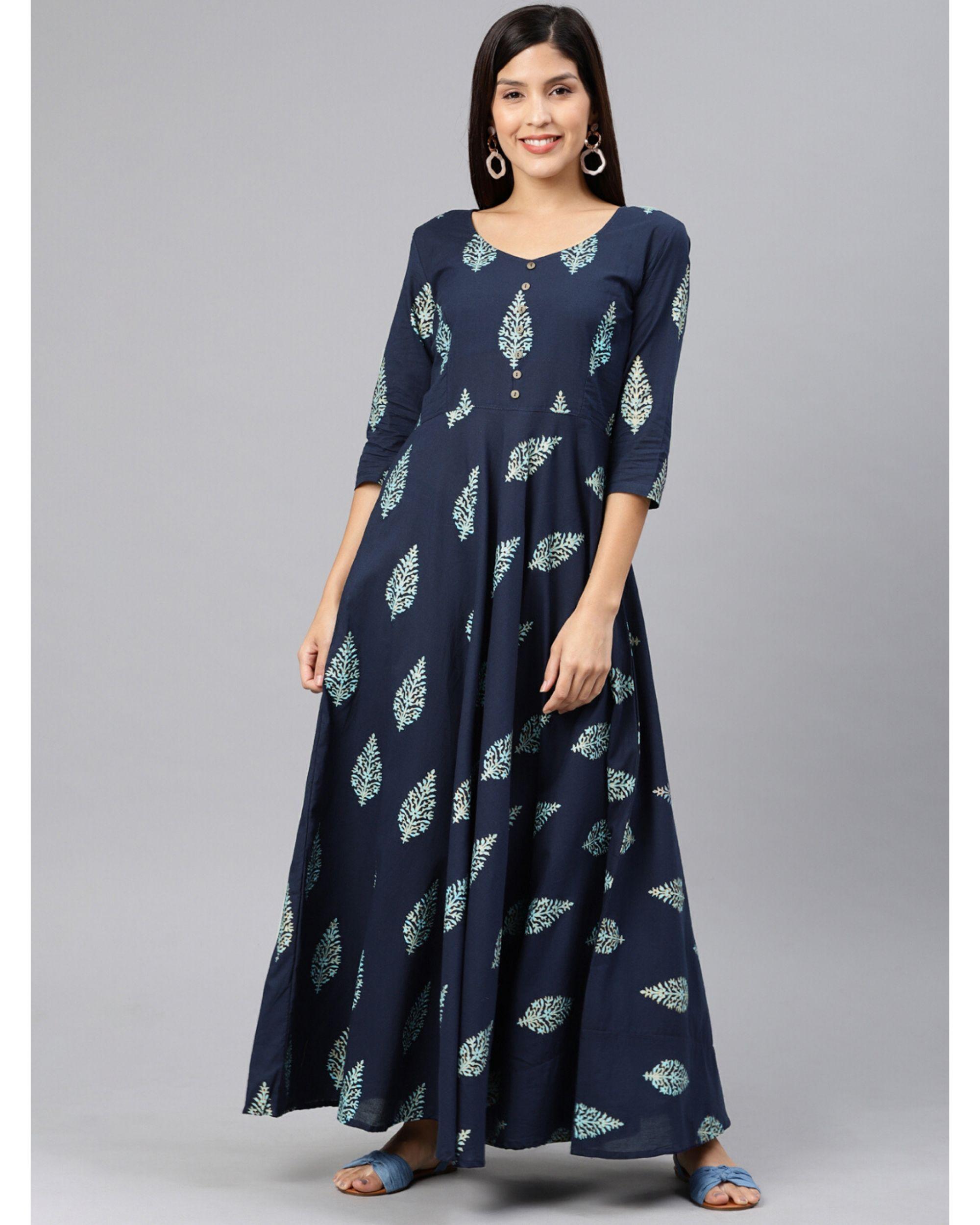 Navy blue leaf printed dress
