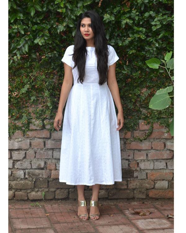 white pure chikankari cotton dress