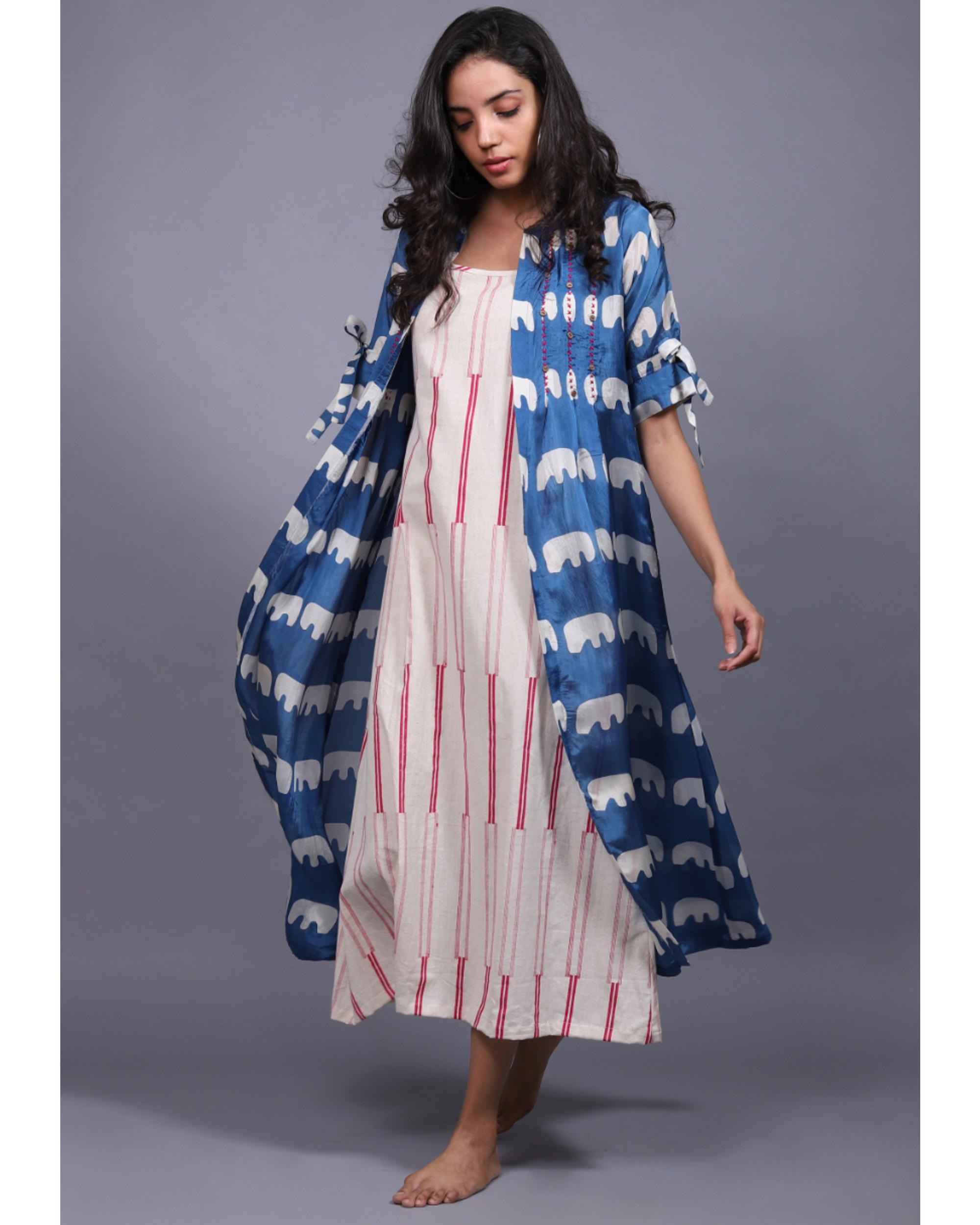 Blue and white printed habutai jacket and printed dress set- Set Of Two
