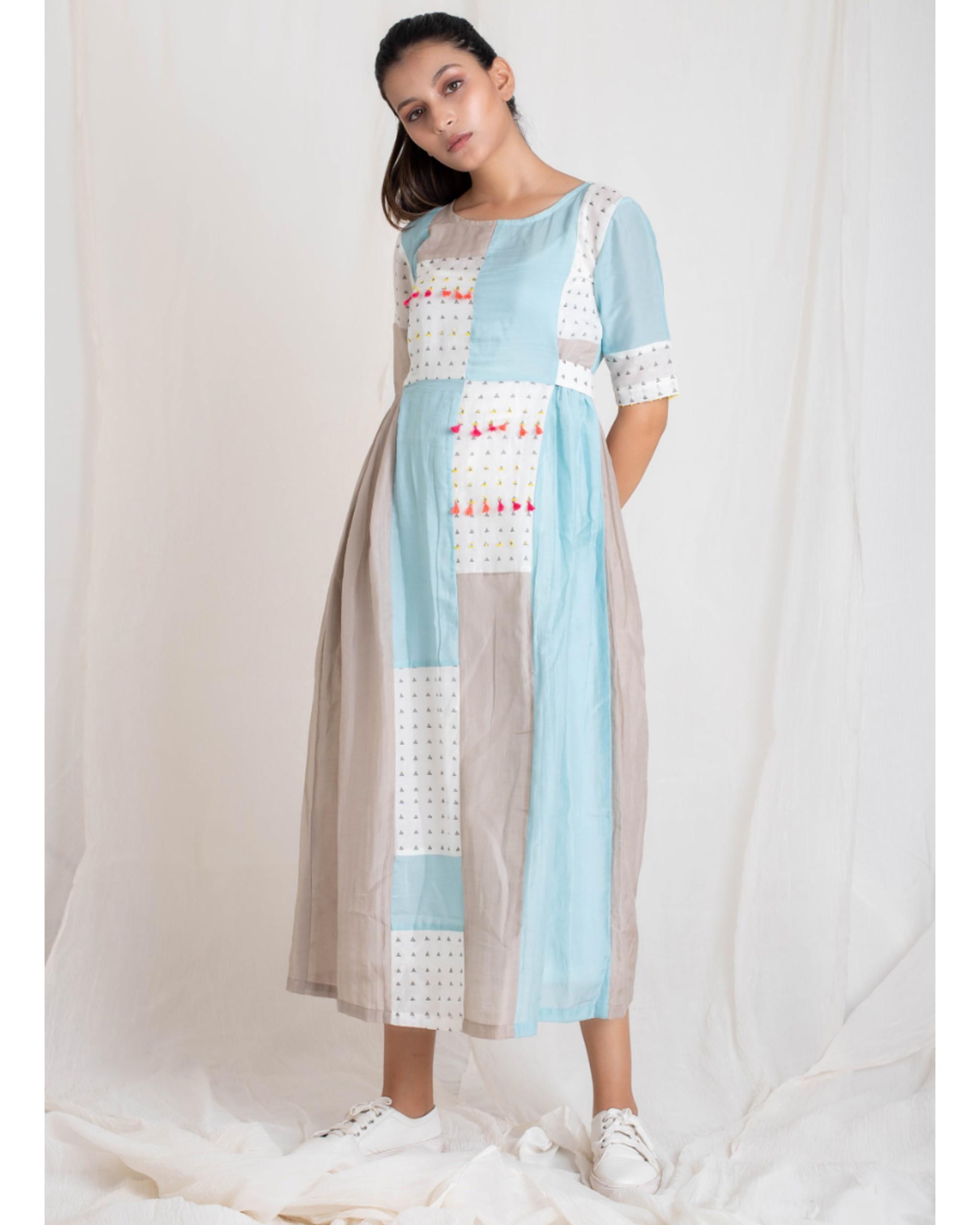 Aqua and ecru multi patch dress