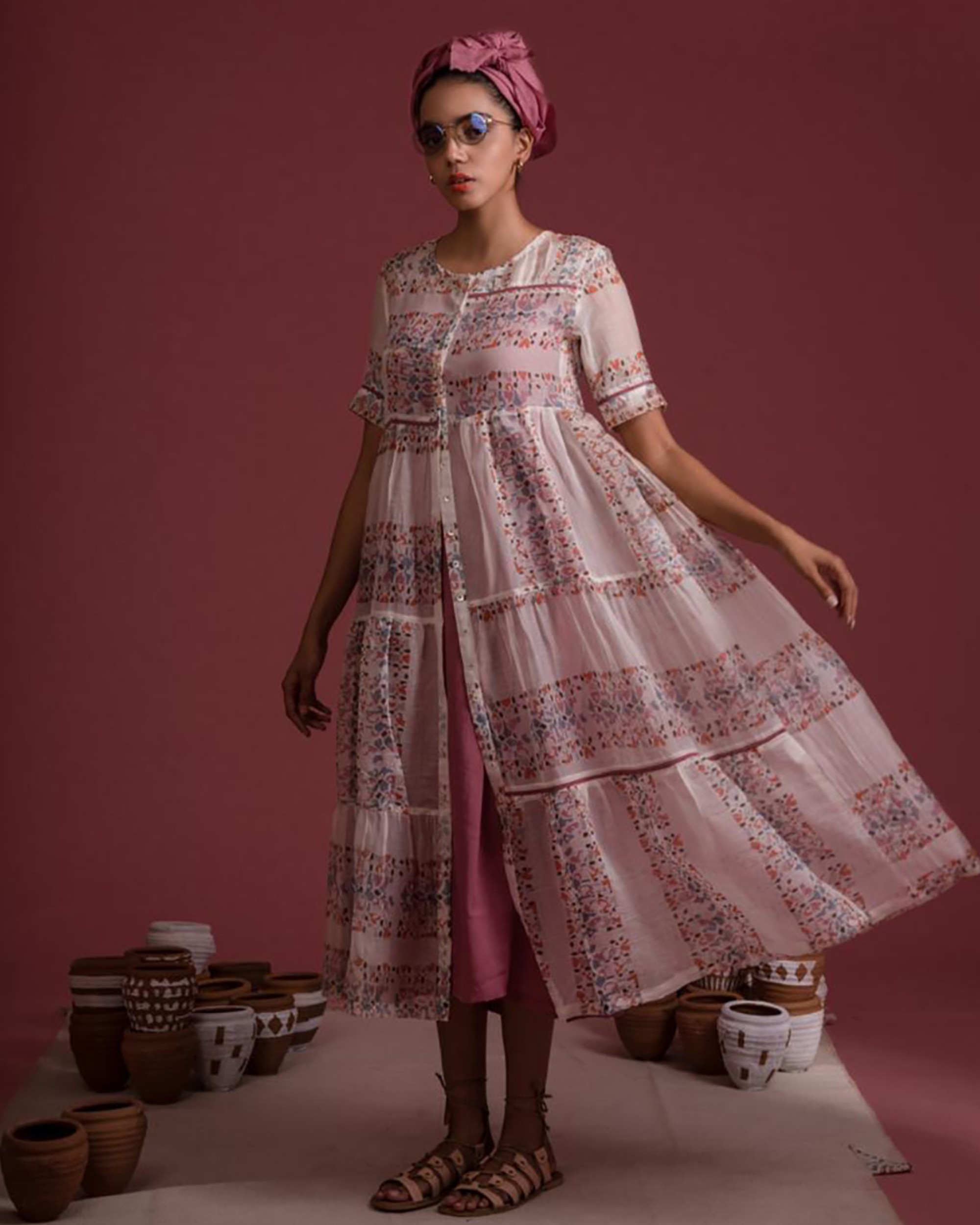 Mauve tiered chanderi dress with inner set- Set Of Two