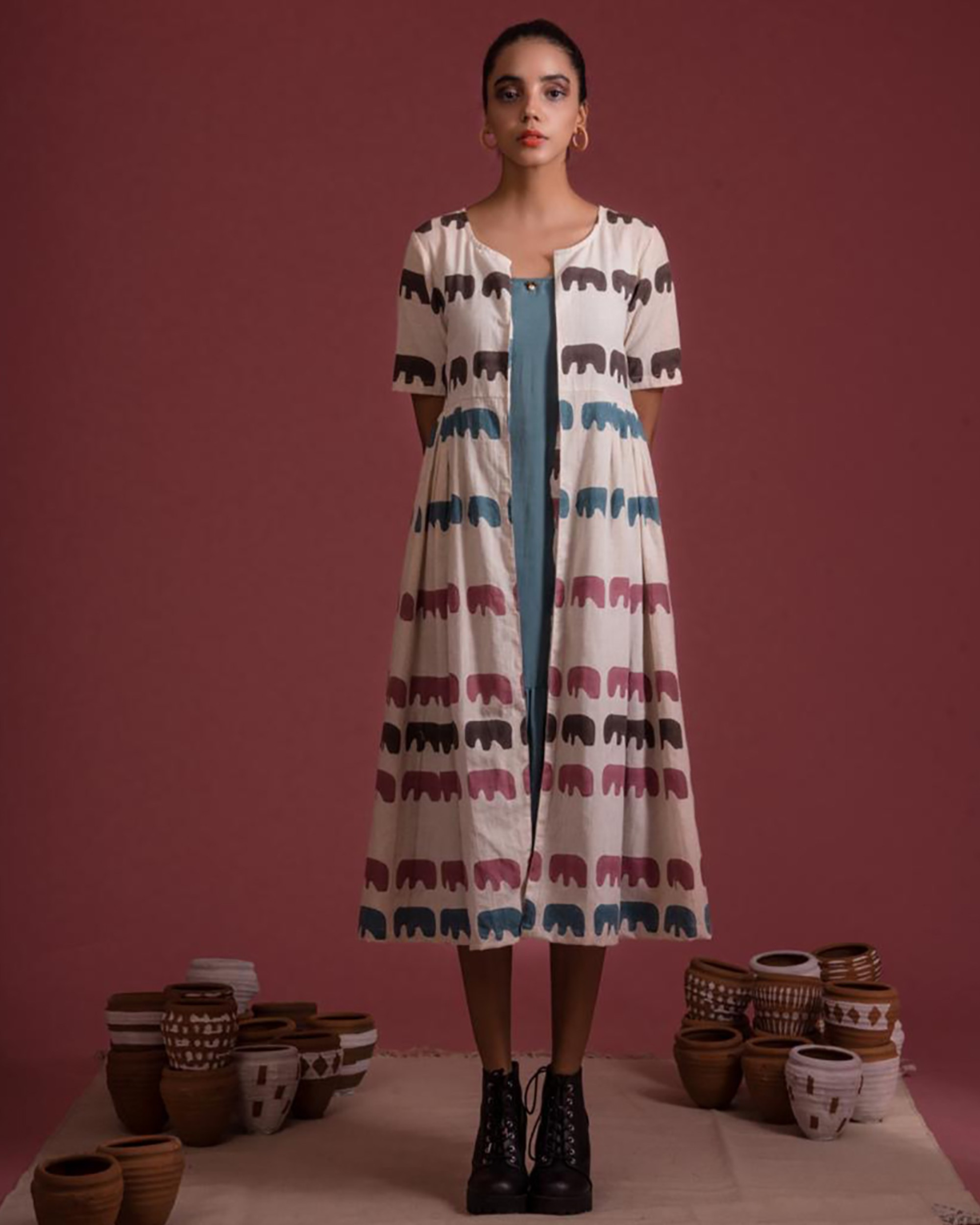 Afro printed jacket and hand beaded dress set- Set Of Two