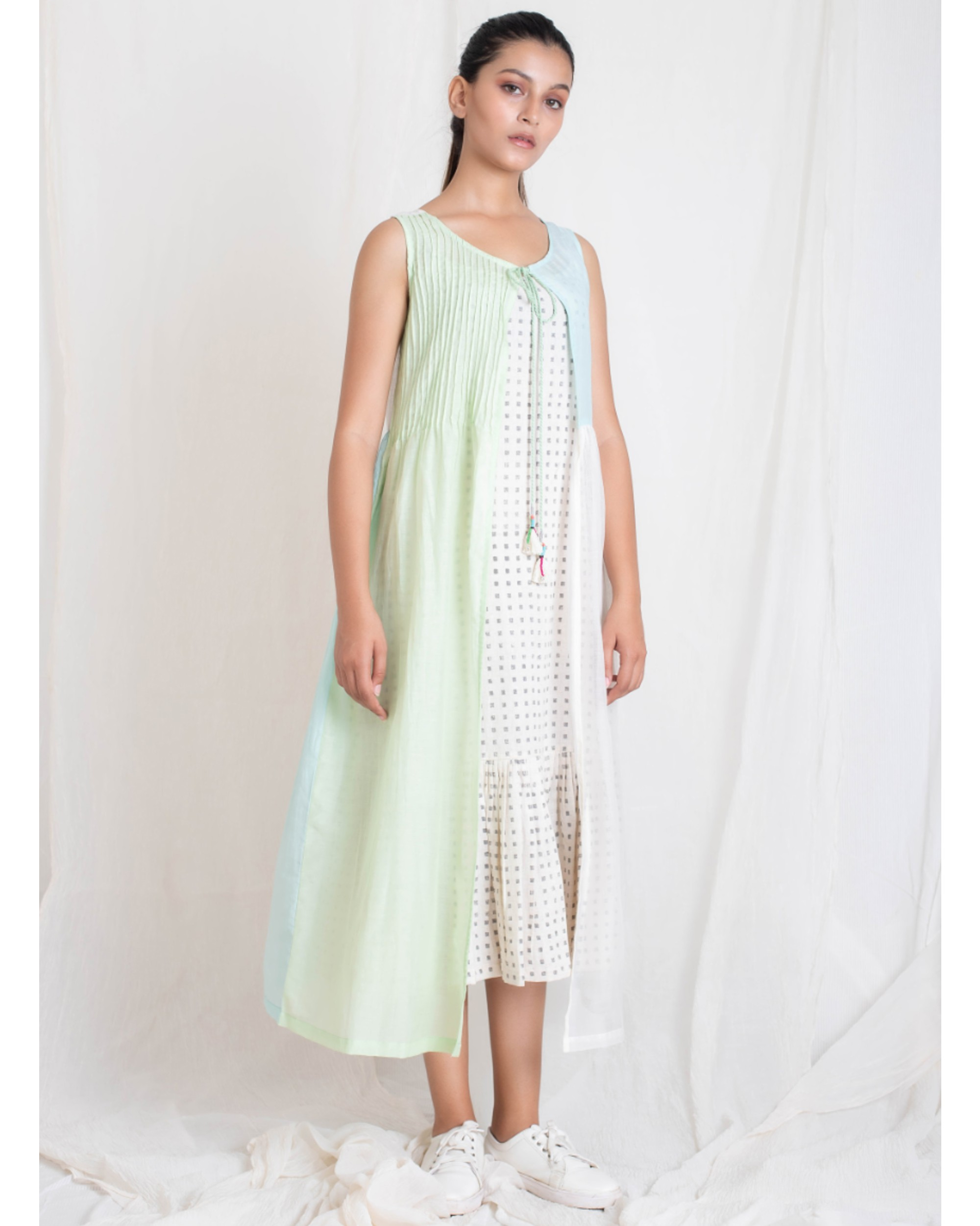 Aqua and light green panel jacket and tiered dress set- Set Of Two