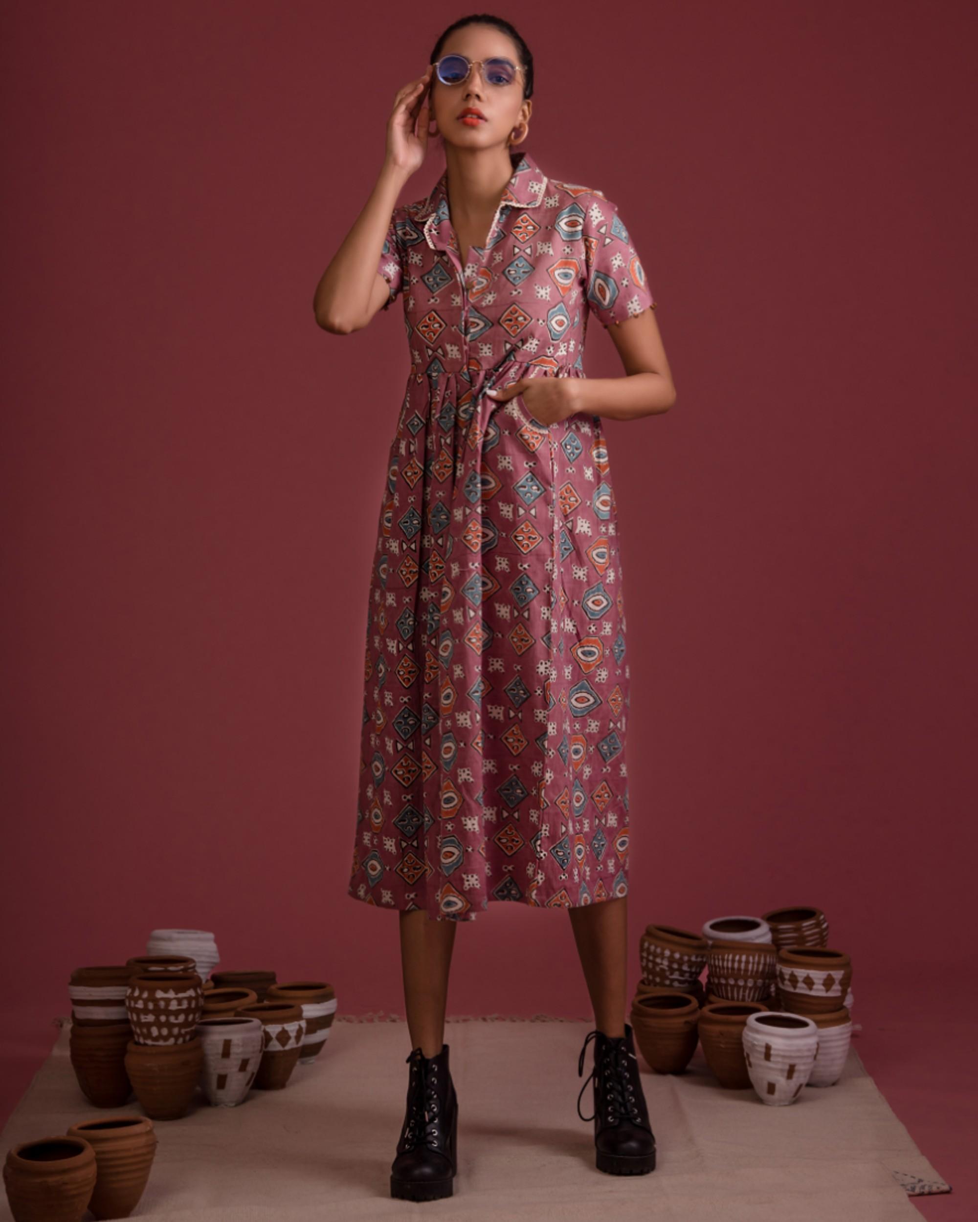 Mauve afro hand block printed retro dress