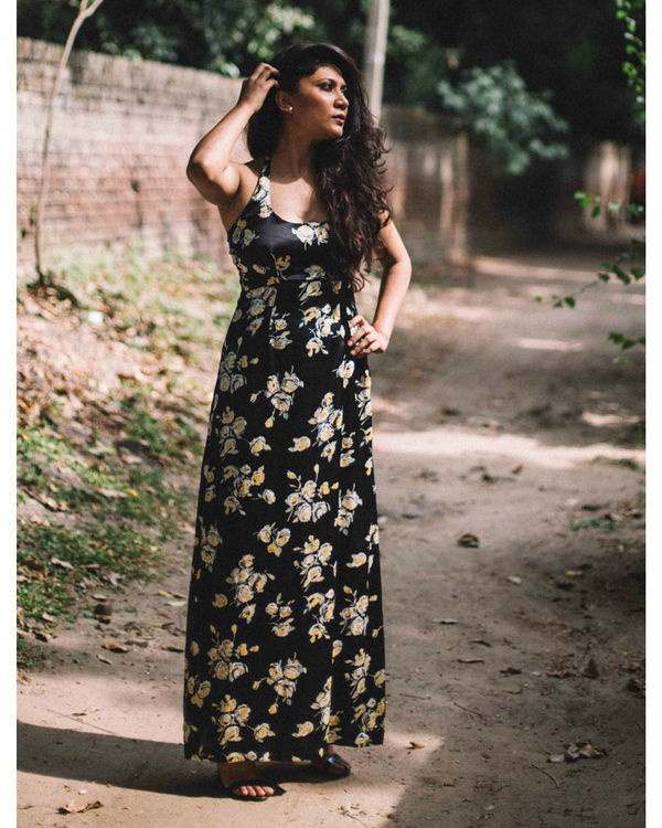 black vintage floral satin halter maxi dress