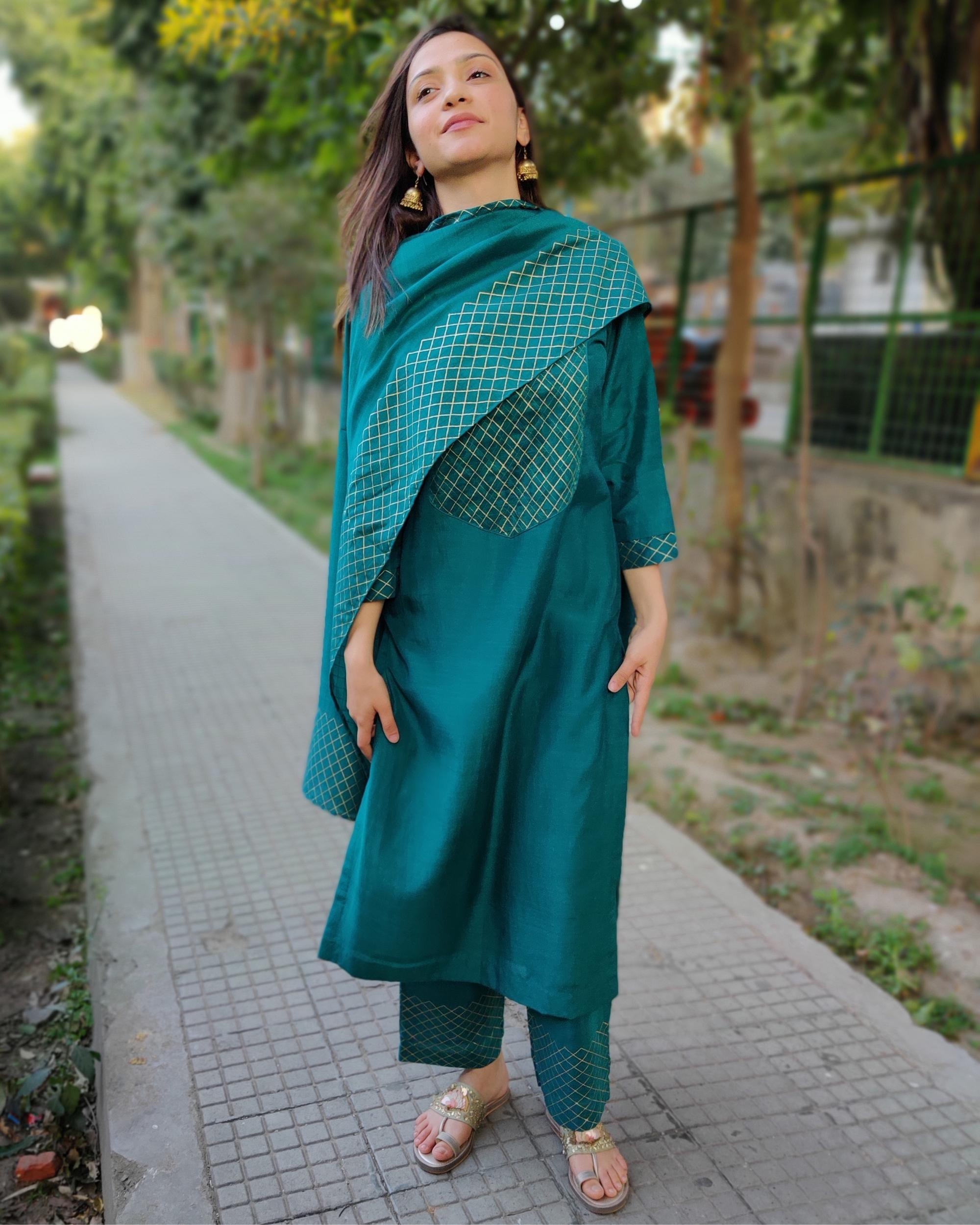 Teal green block printed muslin silk suit set - set of three
