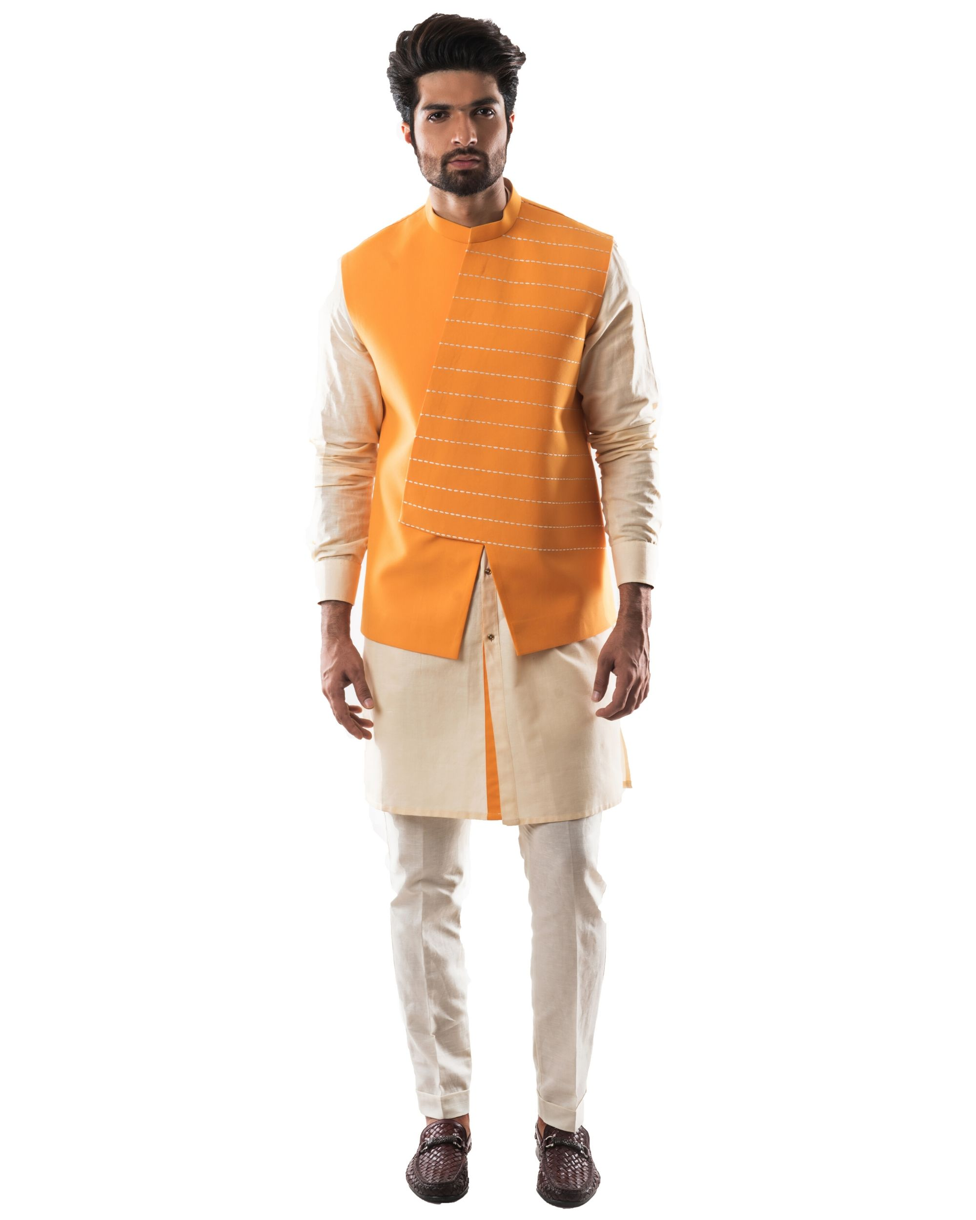 Yellow embroidered asymmetrical bandi and kurta with pants set- Set Of Three