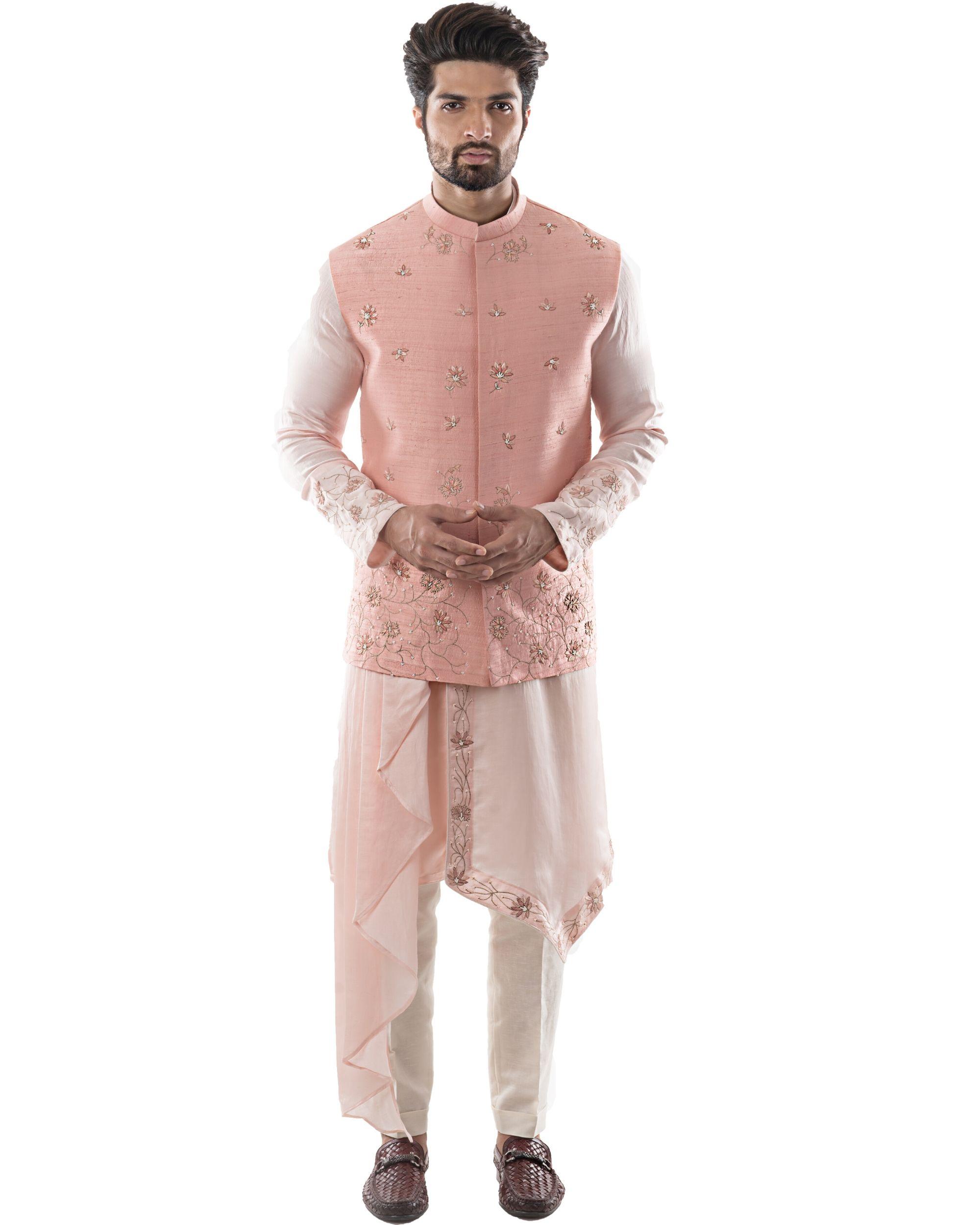 Pearl pink zardozi jacket and dusty pink asymmetrical kurta with pants set- Set Of Three