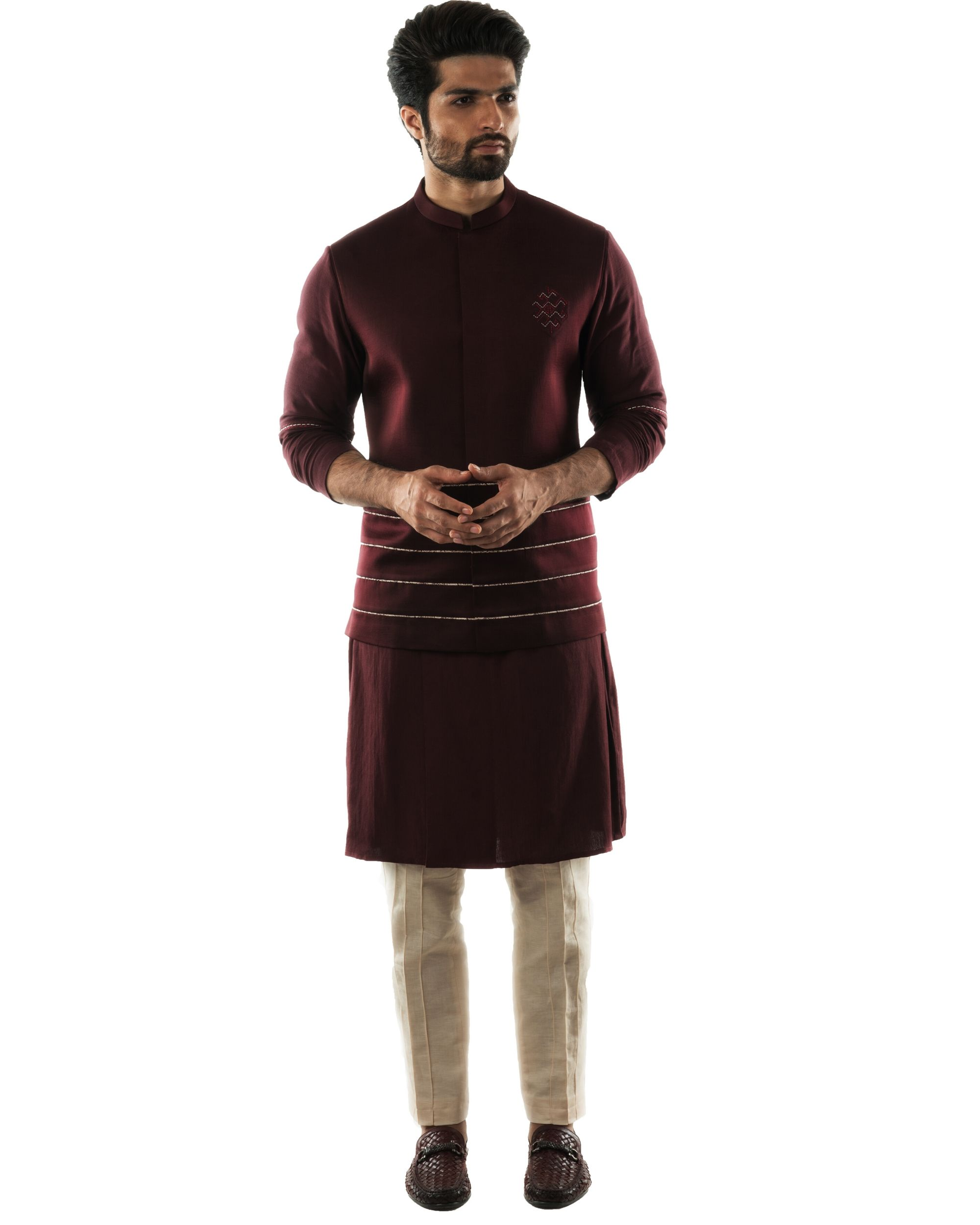 Wine red geometric embroidered bandi and katha embroidered kurta with pintuck pants set- Set Of Three