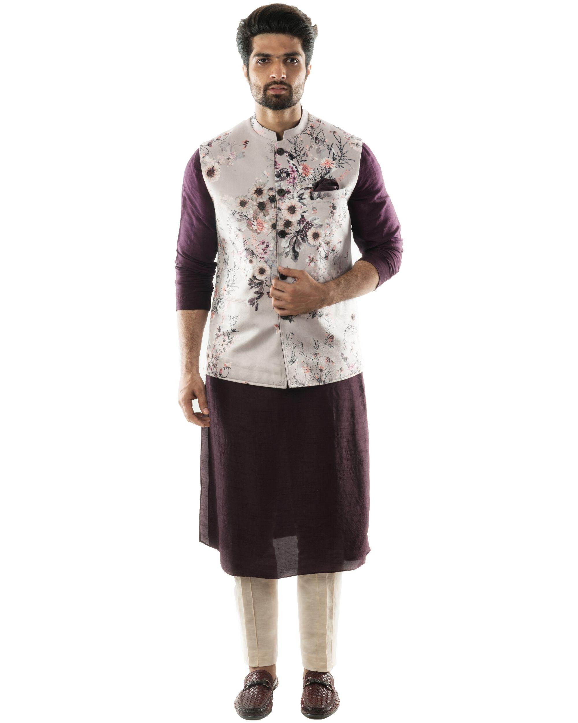 Dusty grey floral nehru jacket and kurta with pants set- Set Of Three