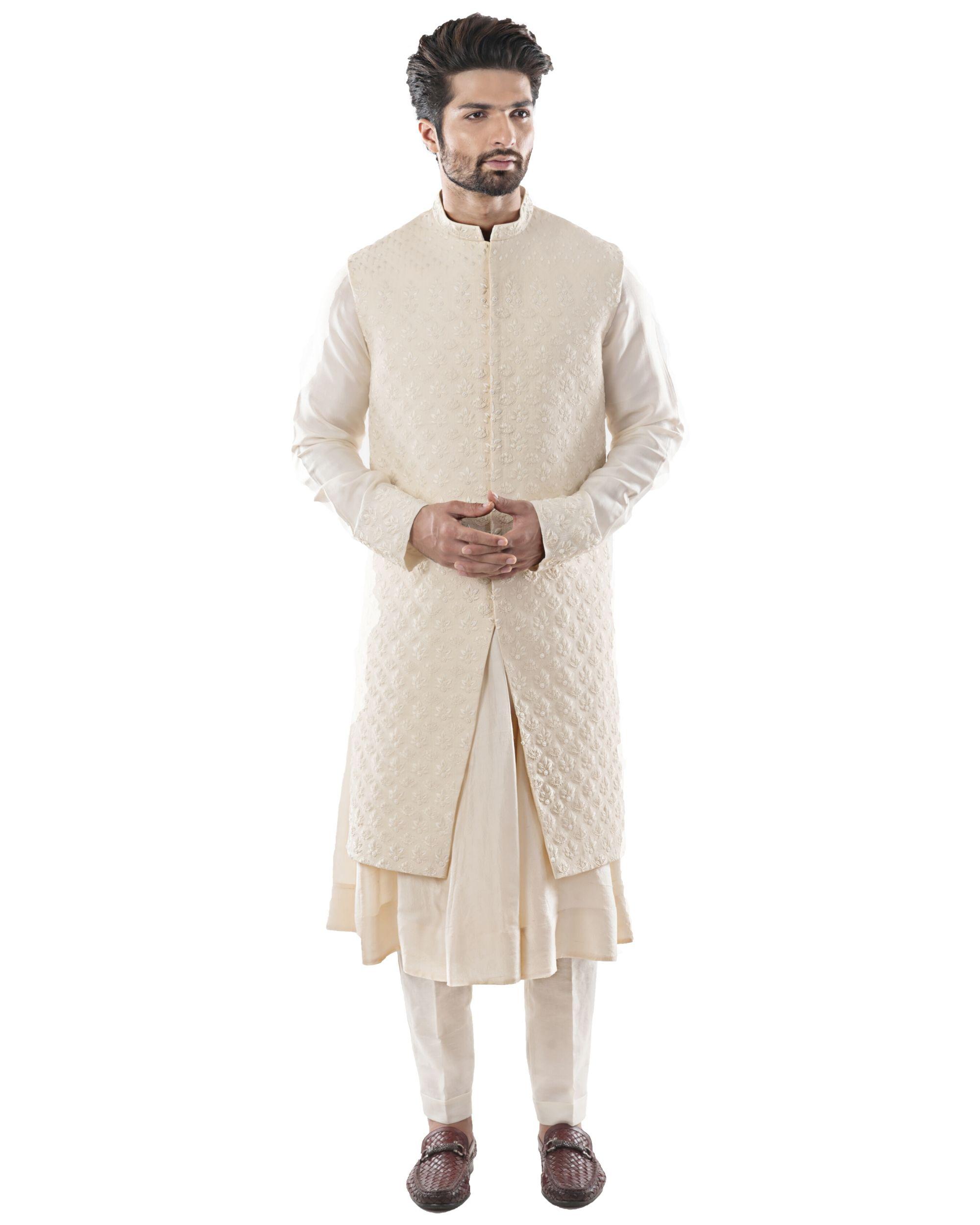 Off white zari embroidered bandi and anarkali kurta with pants set- Set Of Three