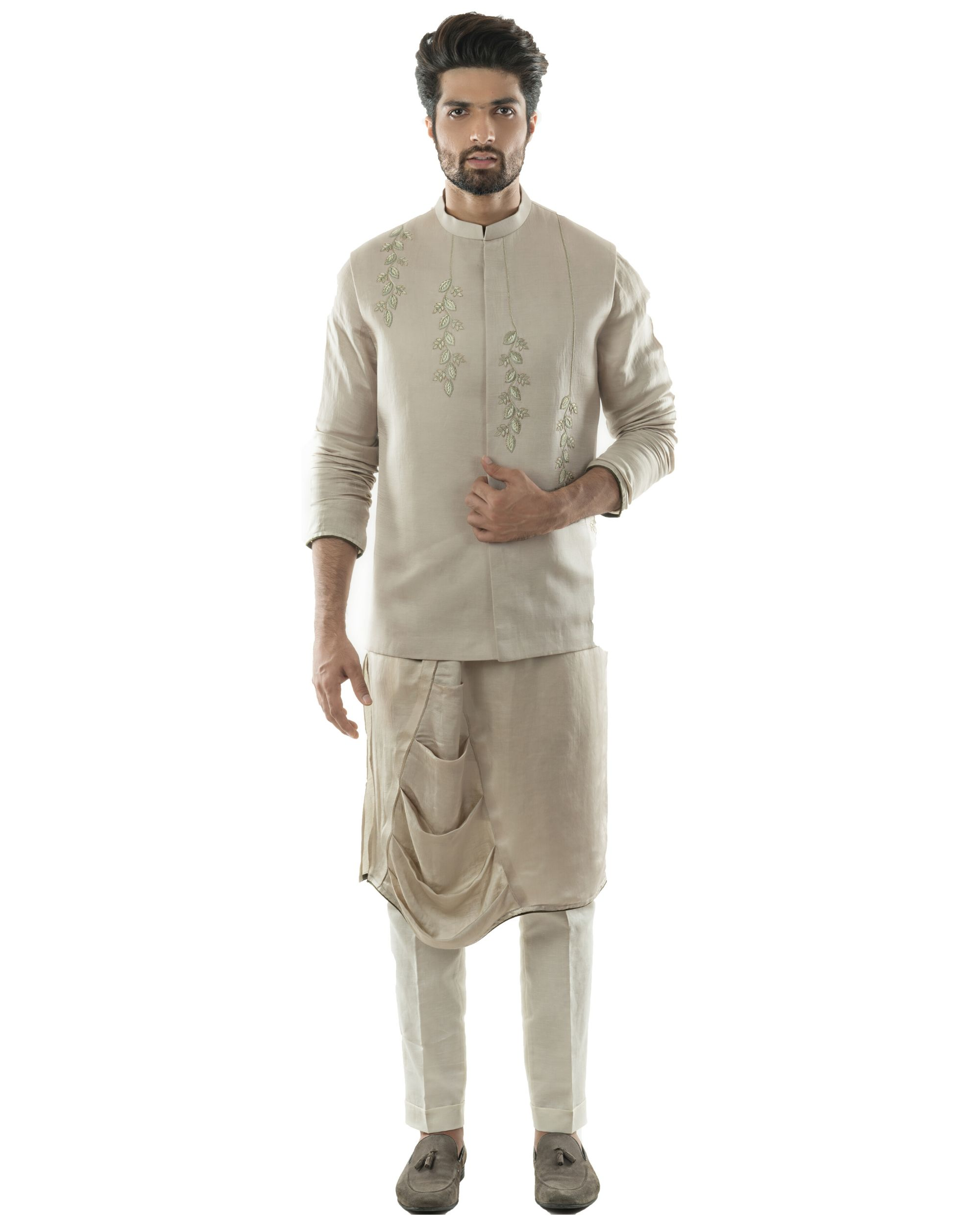Oyster grey embroidered nehru jacket with draped kurta and pants set- Set Of Three