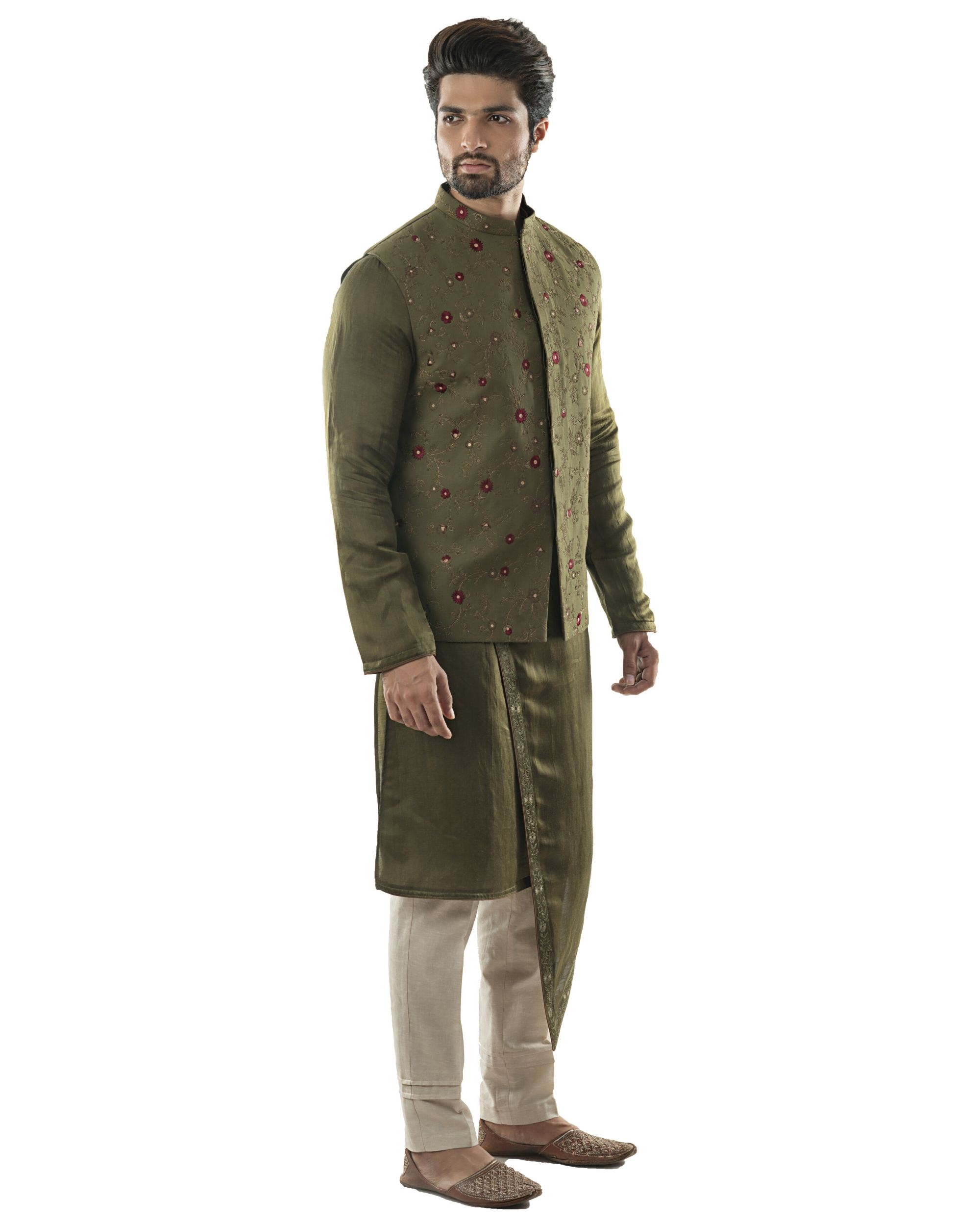 Olive green jaal embroidered jacket