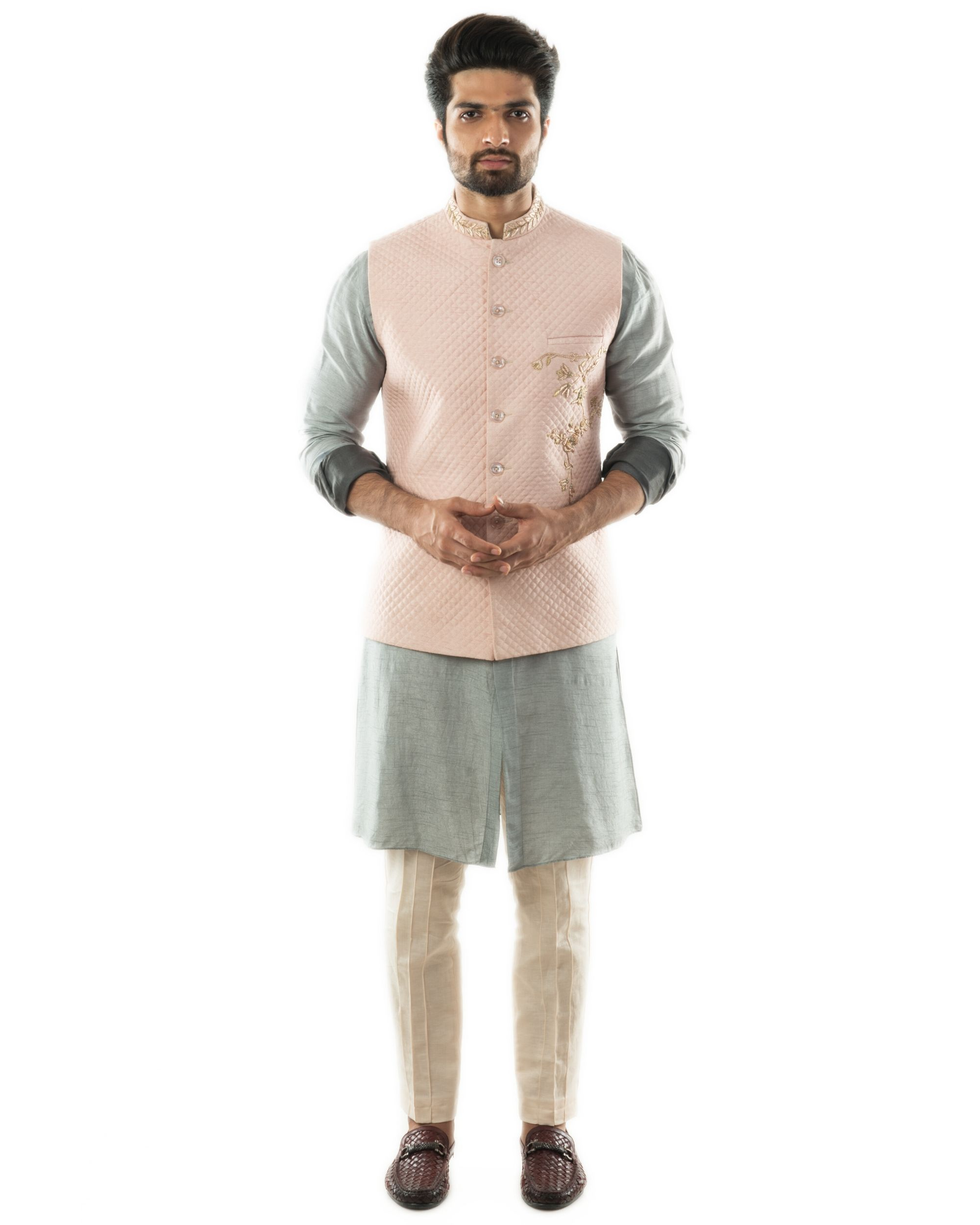 Pink hand embroidered nehru jacket with quilting detail