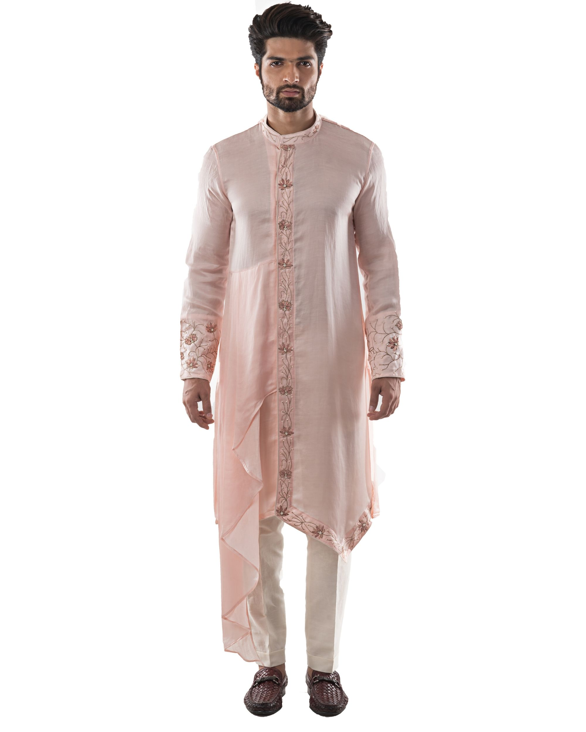 Dusty pink zardozi embroidered asymmetrical kurta