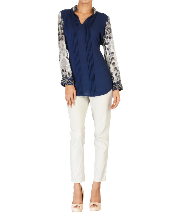 Embroidered navy with printed sleeves top