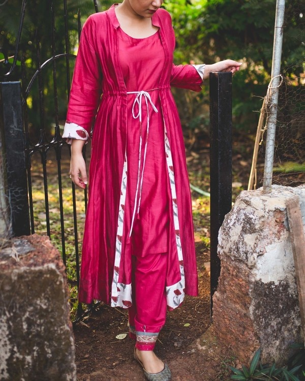 CRIMSON TWO PIECE KALIDAAR WITH TUNIC & JACKET