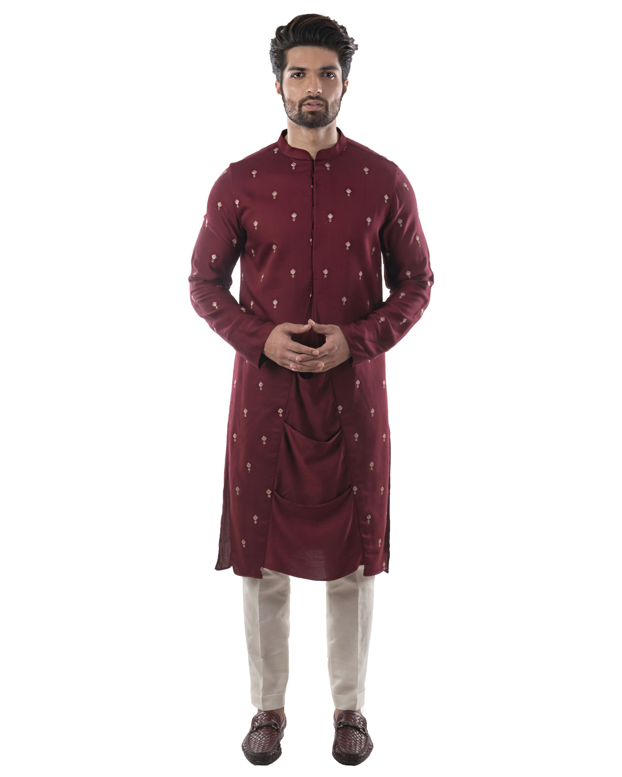 Maroon embroidered drape kurta and pants set- Set Of Two