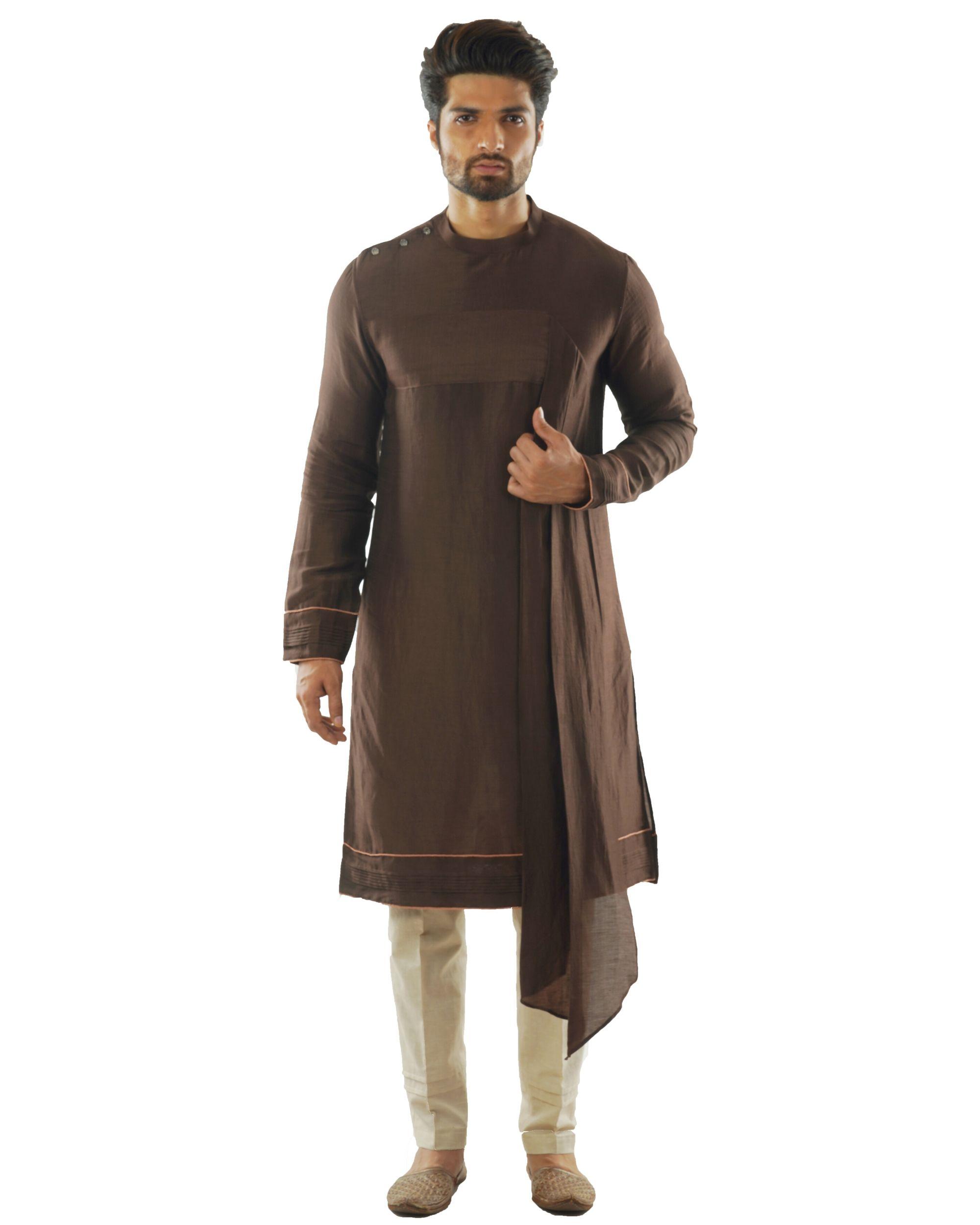 Soil brown kurta with dupatta drape and pin tuck pants set- Set Of Two