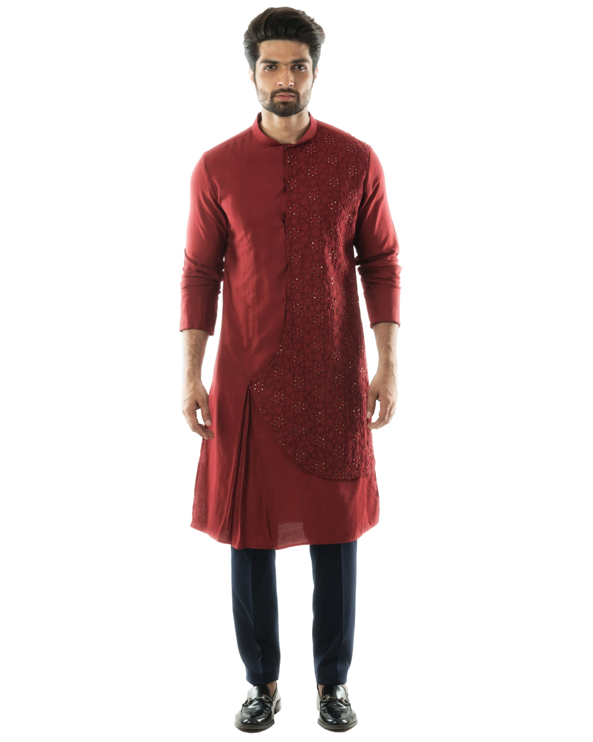 Maroon overlap embroidered kurta and pants set- Set Of Two