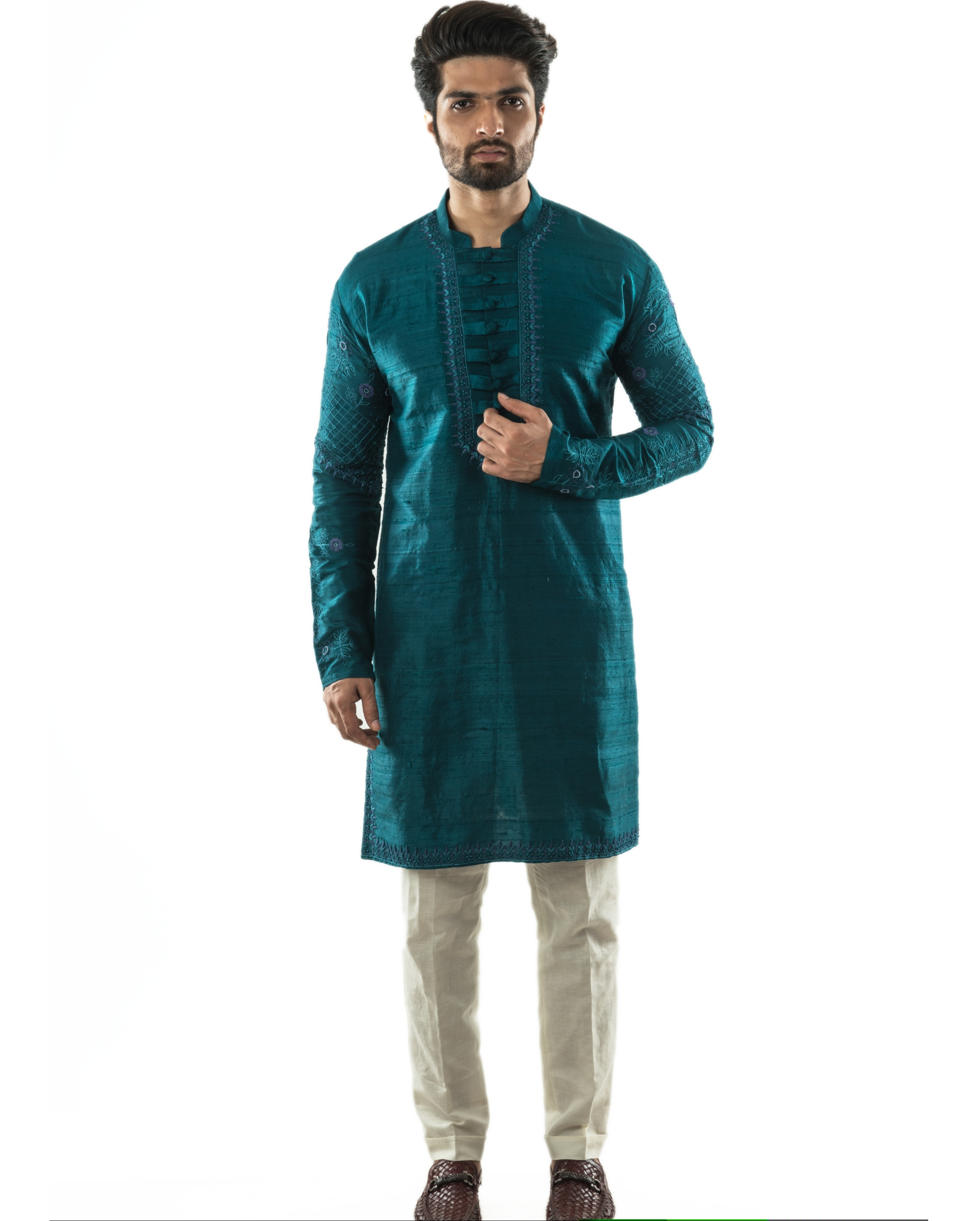 Peacock green hand embroidered kurta and pants set- Set Of Two